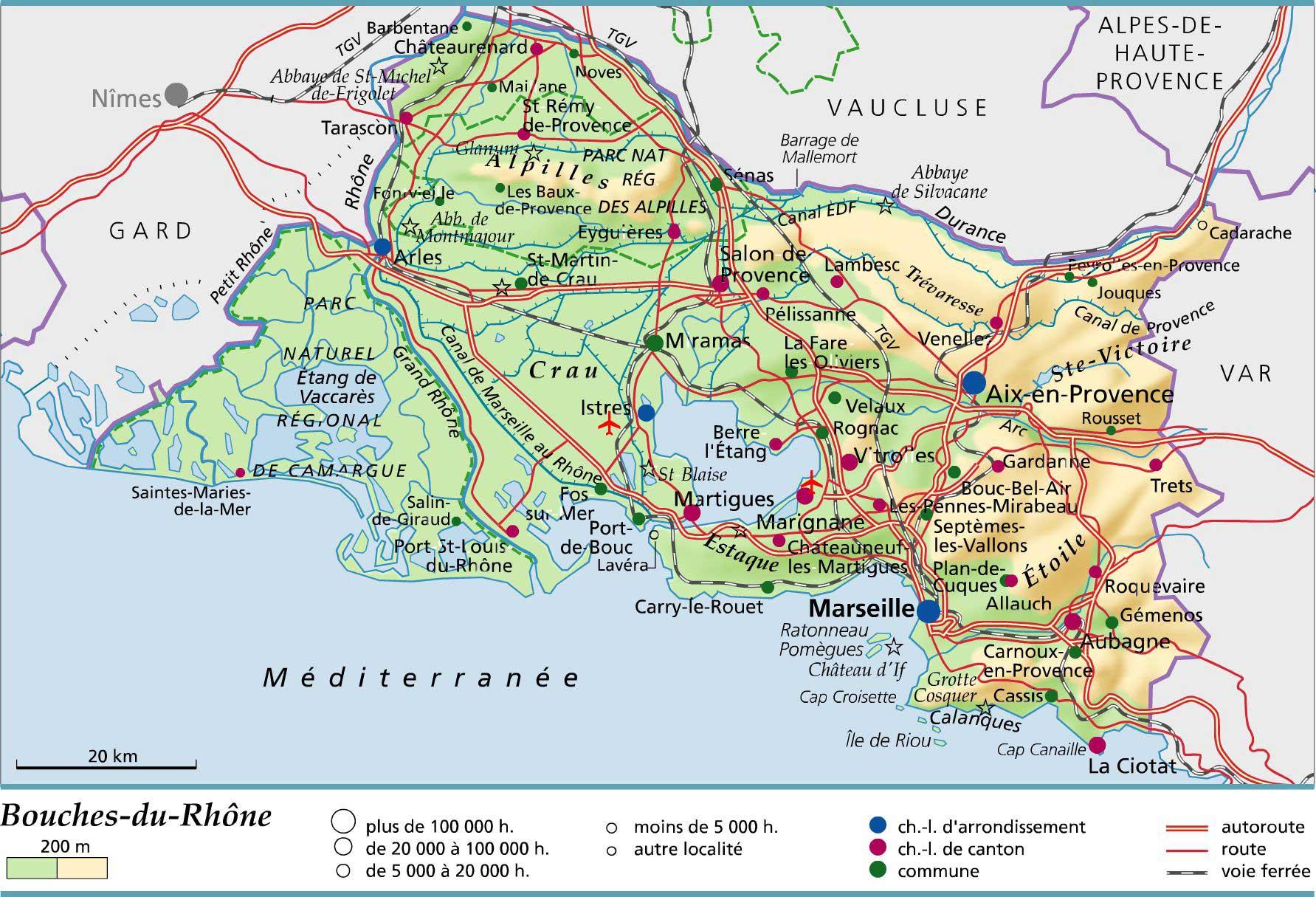 Bouches-Du-Rhône - Département 13 - Voyages - Cartes encequiconcerne Carte Departement 13