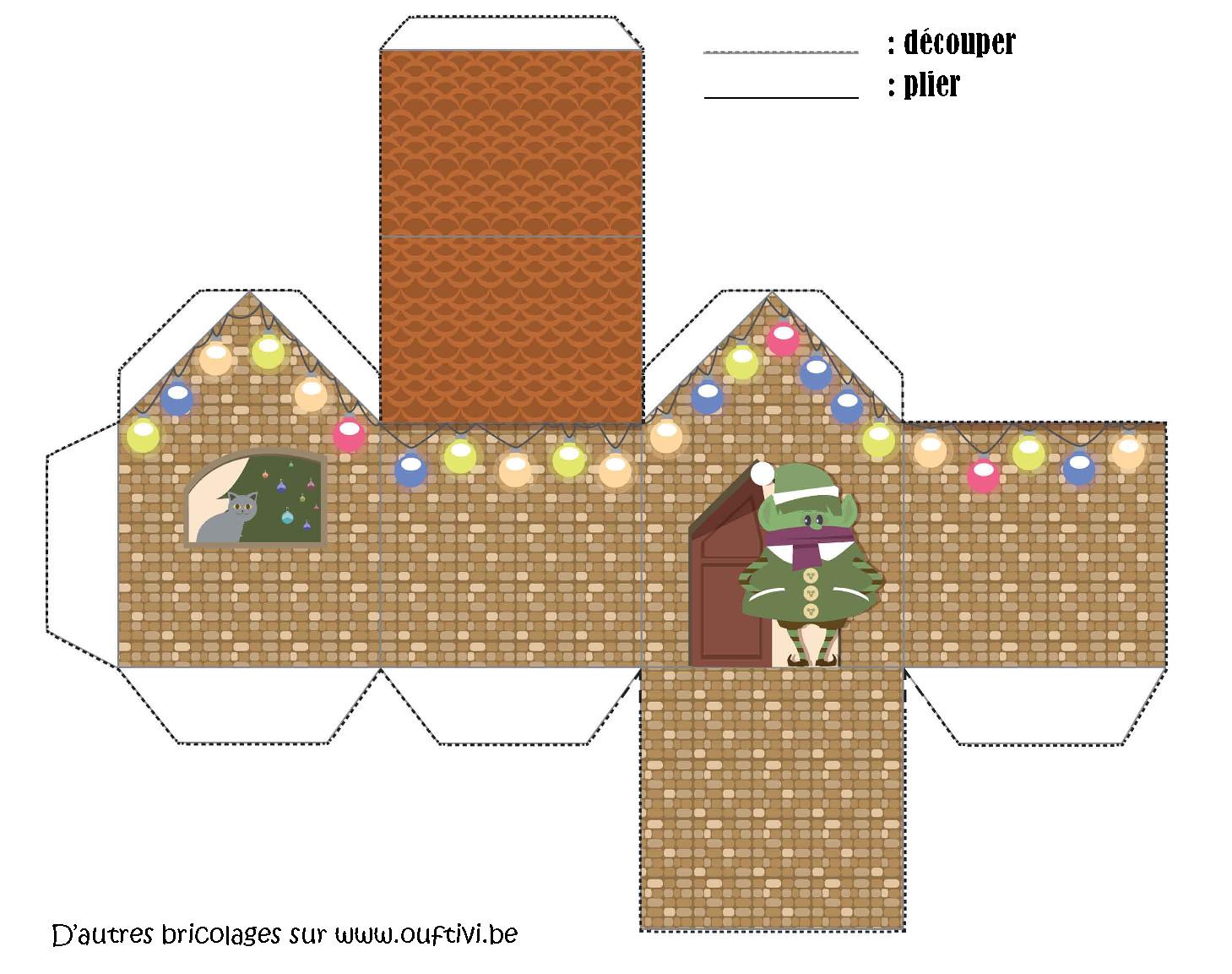 Bricolage - Maison De Noël 1 - Ouftivi intérieur Bricolage À Imprimer Gratuit