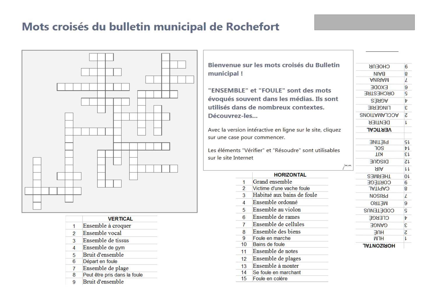 Bulletin Municipal Numéro 31, Janvier 2016, Commission destiné Grand Ensemble Mots Croisés