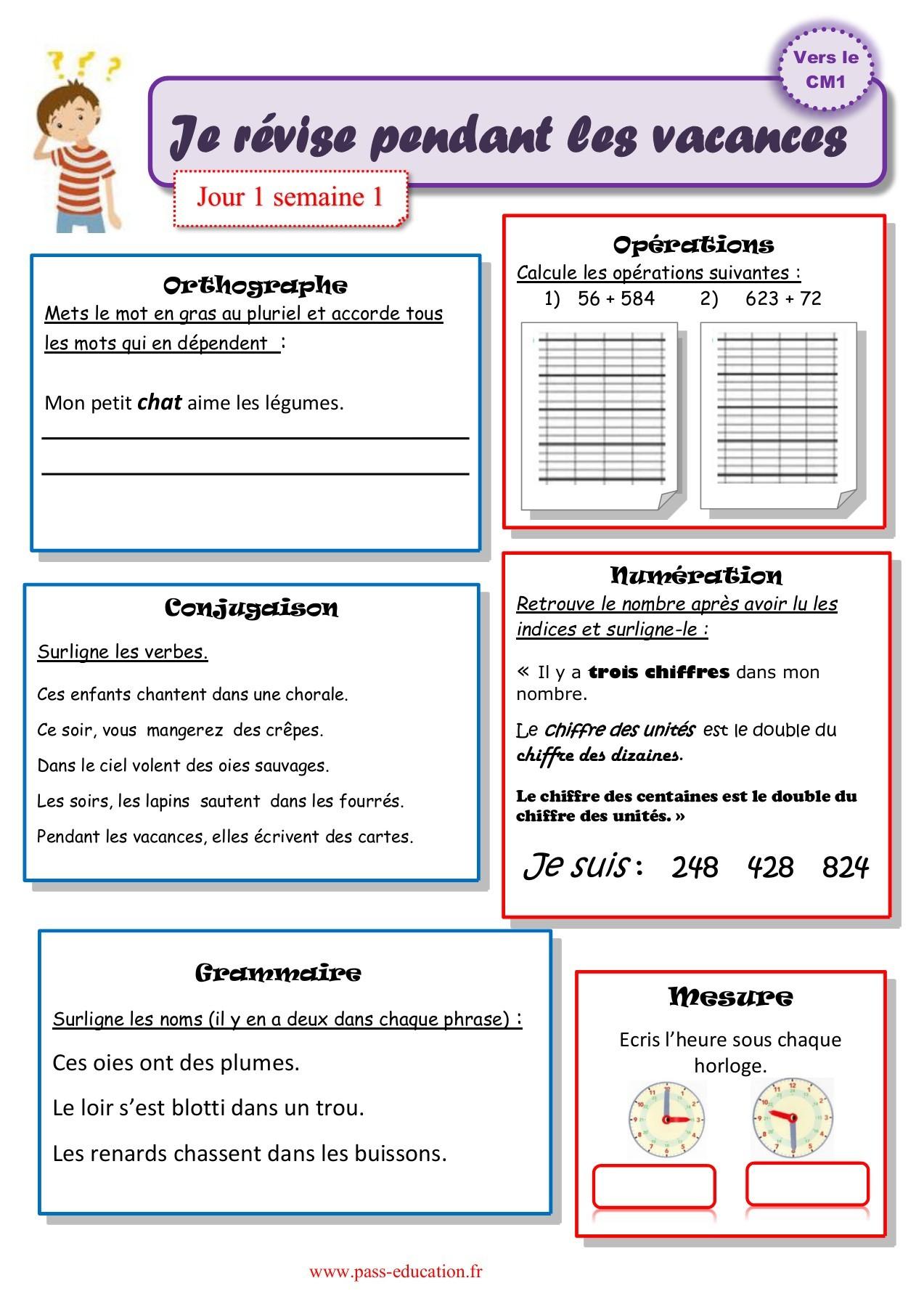 Cahier De Vacances Gratuit À Imprimer - Ce2 Vers Le Cm1 concernant Exercice Cm1 Conjugaison À Imprimer