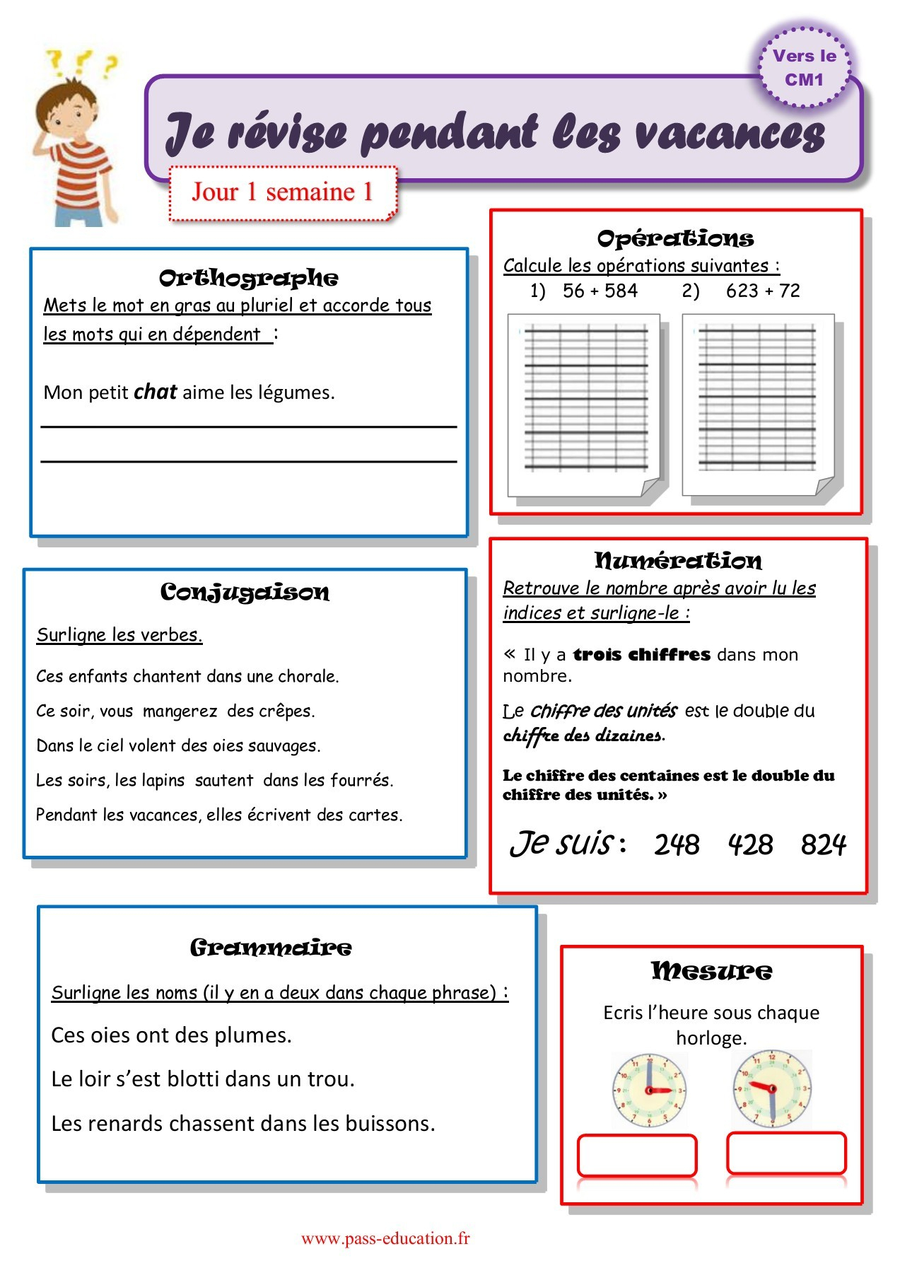 Cahier De Vacances Gratuit À Imprimer - Ce2 Vers Le Cm1 dedans Exercice De Ce2 Gratuit
