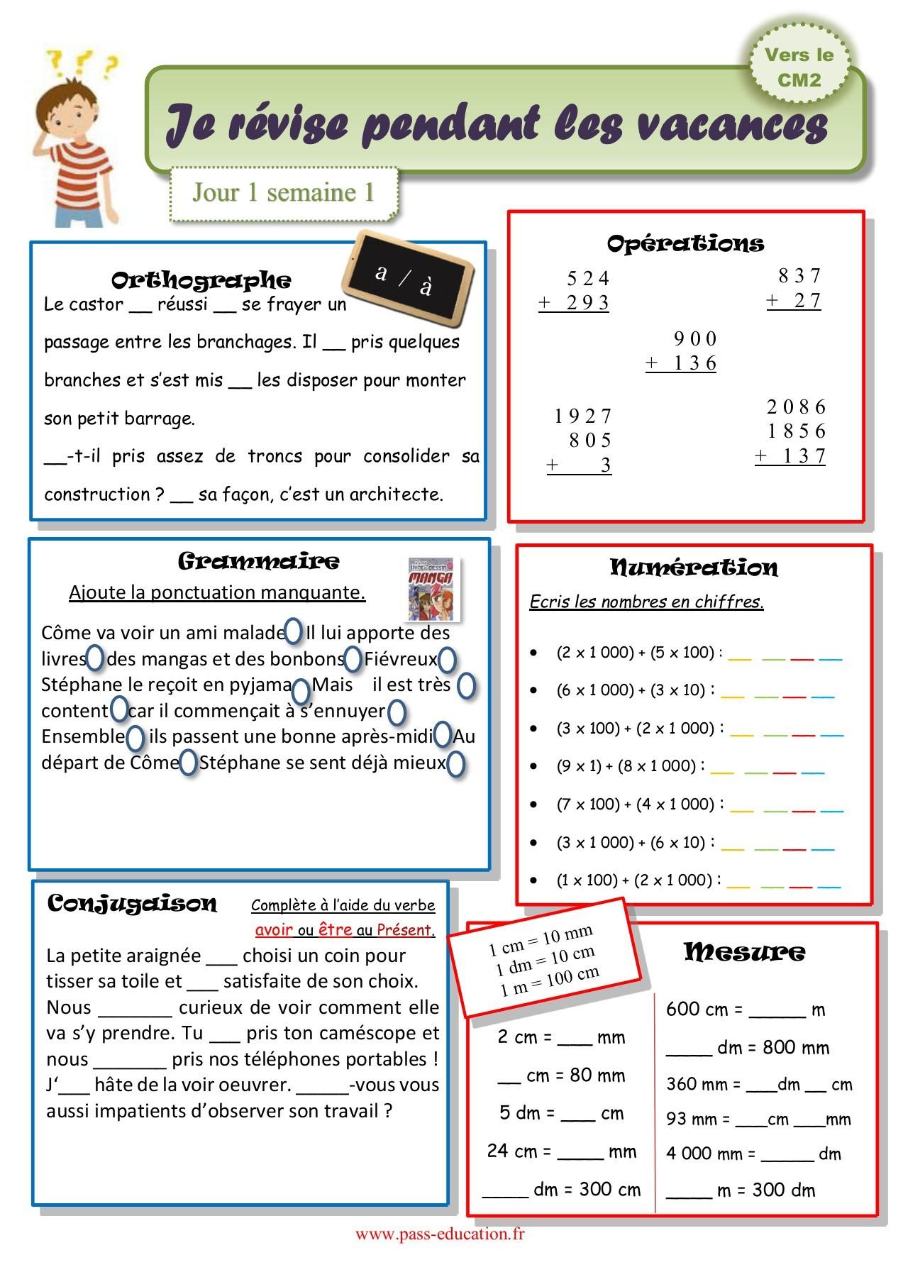 Cahier De Vacances Gratuit À Imprimer - Cm1 Vers Le Cm2 pour Cahier De Vacances À Télécharger Gratuitement