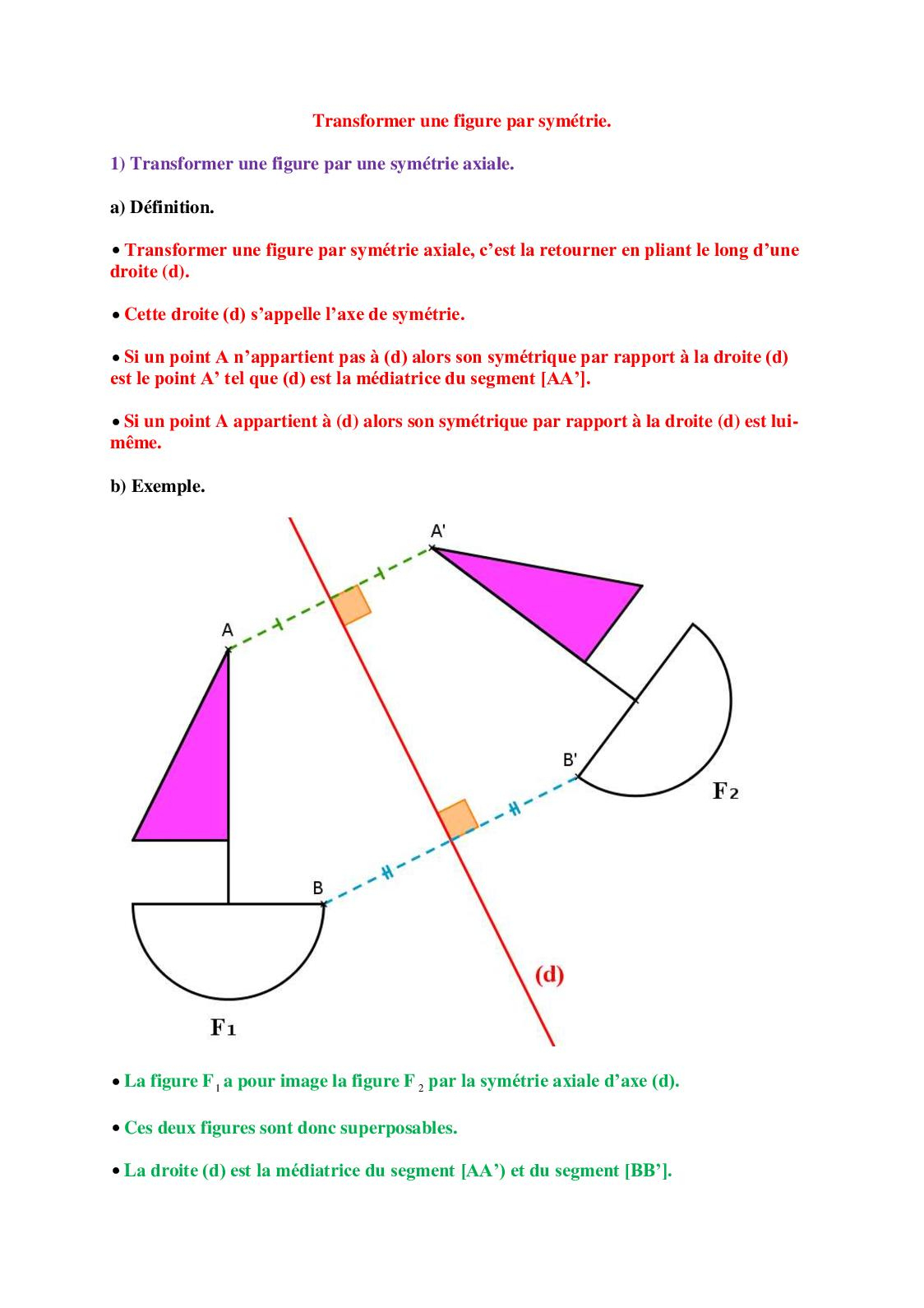 Calaméo - 4° Cours : Transformer Une Figure Par Symétrie avec Symétrie Axial