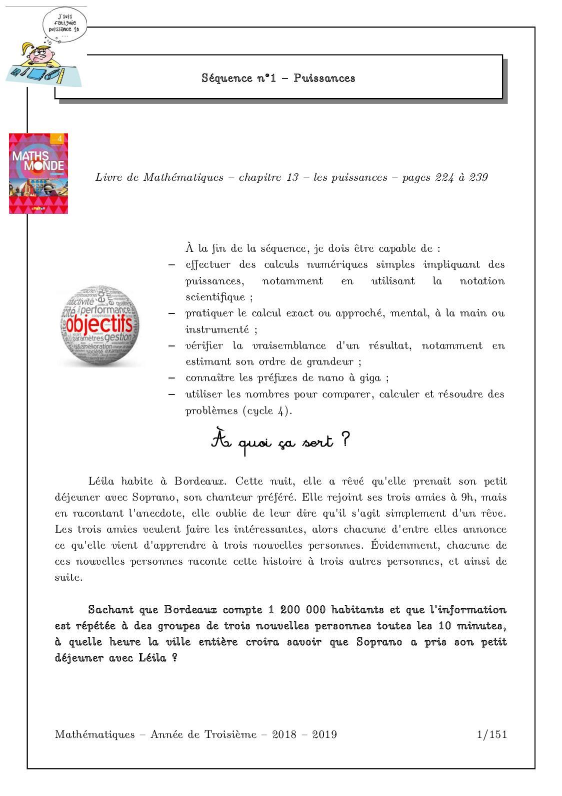Calaméo - Annee De Troisieme 2018 2019 serapportantà Exercice De Math Sur Les Puissances