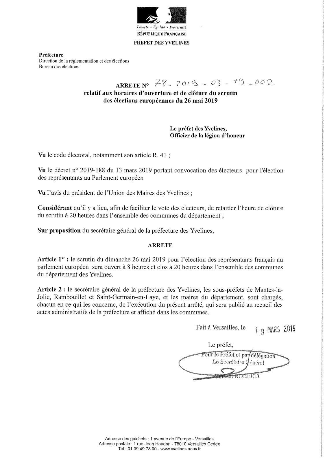 Calaméo - Arrêté Préfectoral Horaires Elections Européennes serapportantà Departement Francais 39