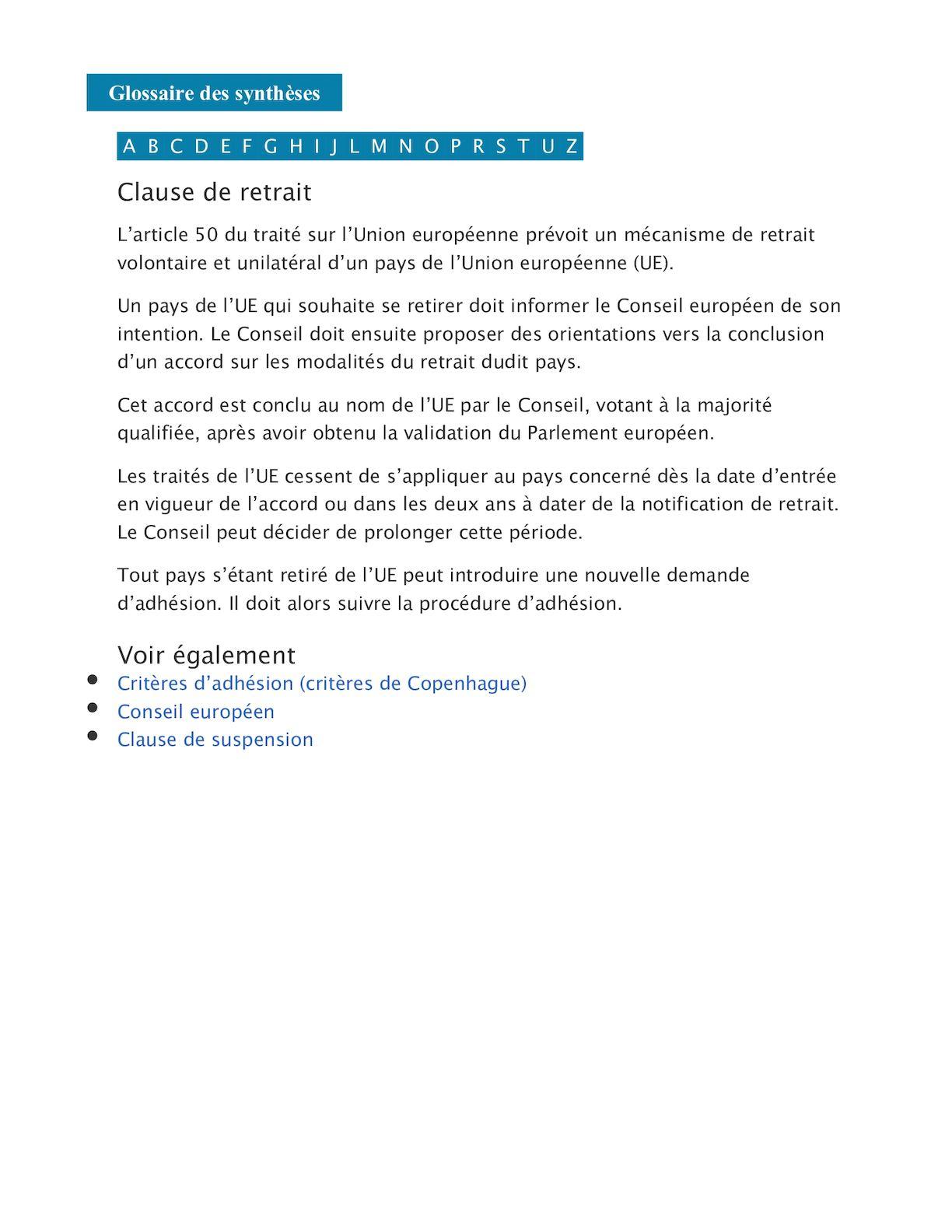 Calaméo - Article 50 Constitution Europeenne serapportantà Nom Des Pays De L Union Européenne