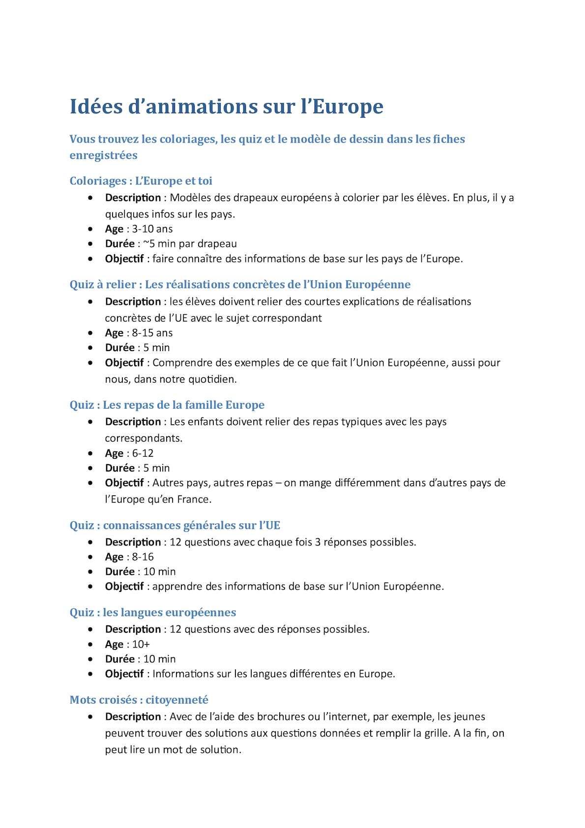 Calaméo - Explications Idées D'animations Sur L'europe intérieur Quiz Sur Les Capitales De L Union Européenne