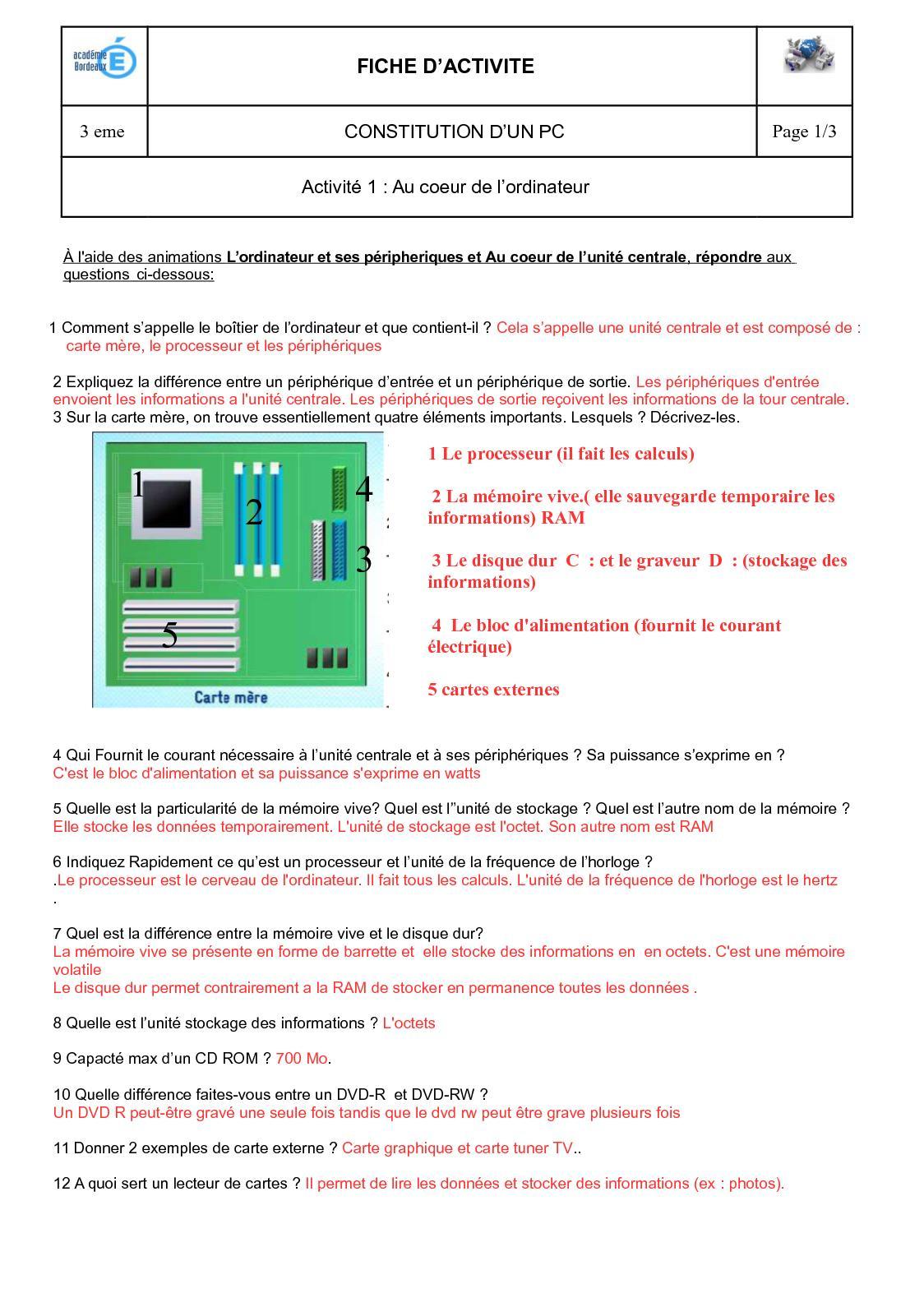 Calaméo - Fiche Eleve Au Coeur De L'ordinateurcorrection pour Lire Carte Memoire Sur Pc