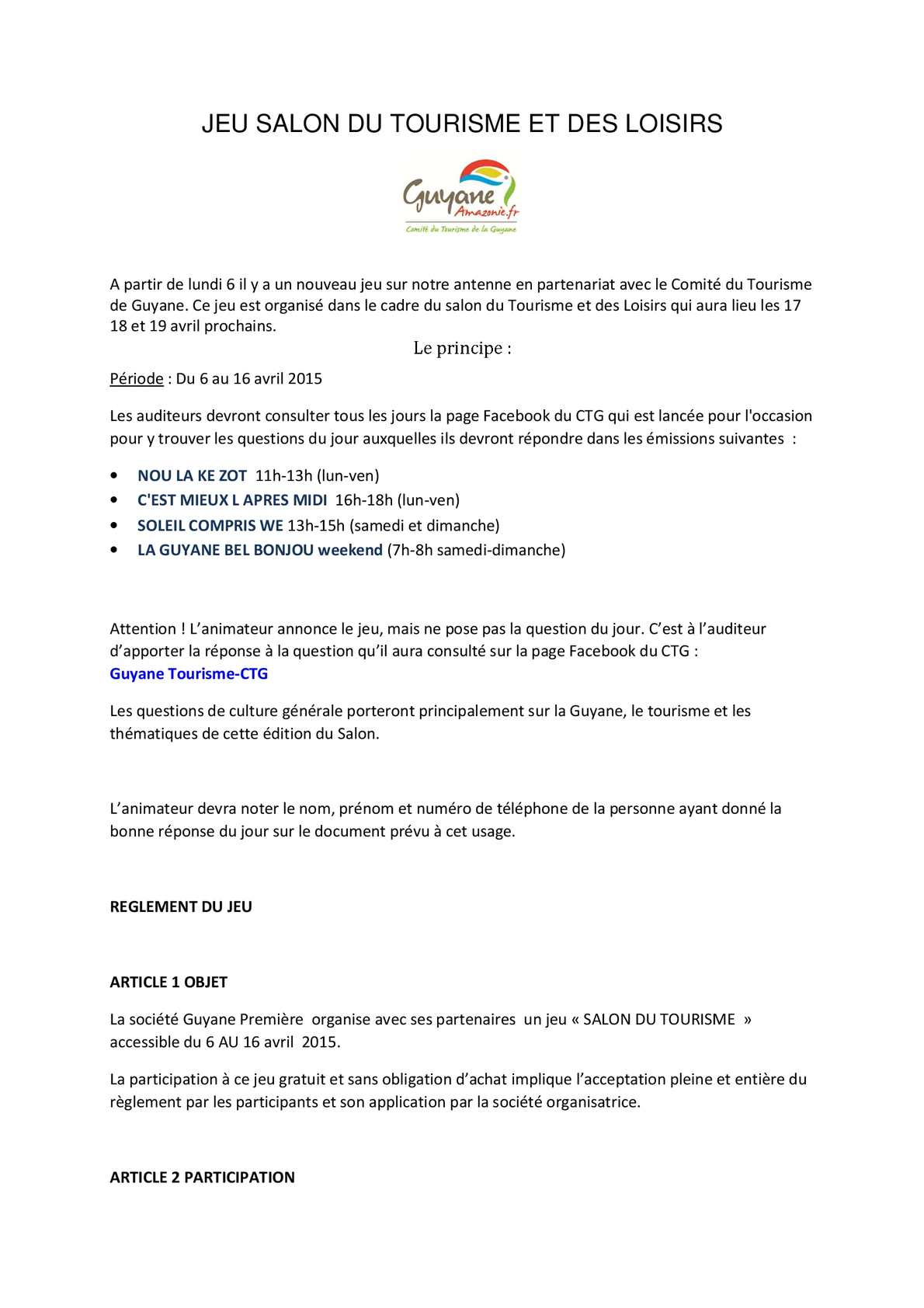 Calaméo - Règlement Du Jeu Salon Du Tourisme & Des Loisirs avec Question Reponse Jeu Gratuit