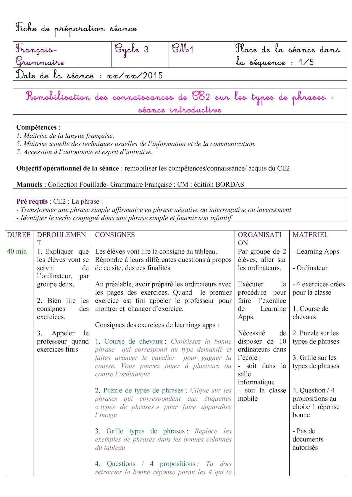 Calaméo - Séance 1 Developpée à Fiche De Français Ce2