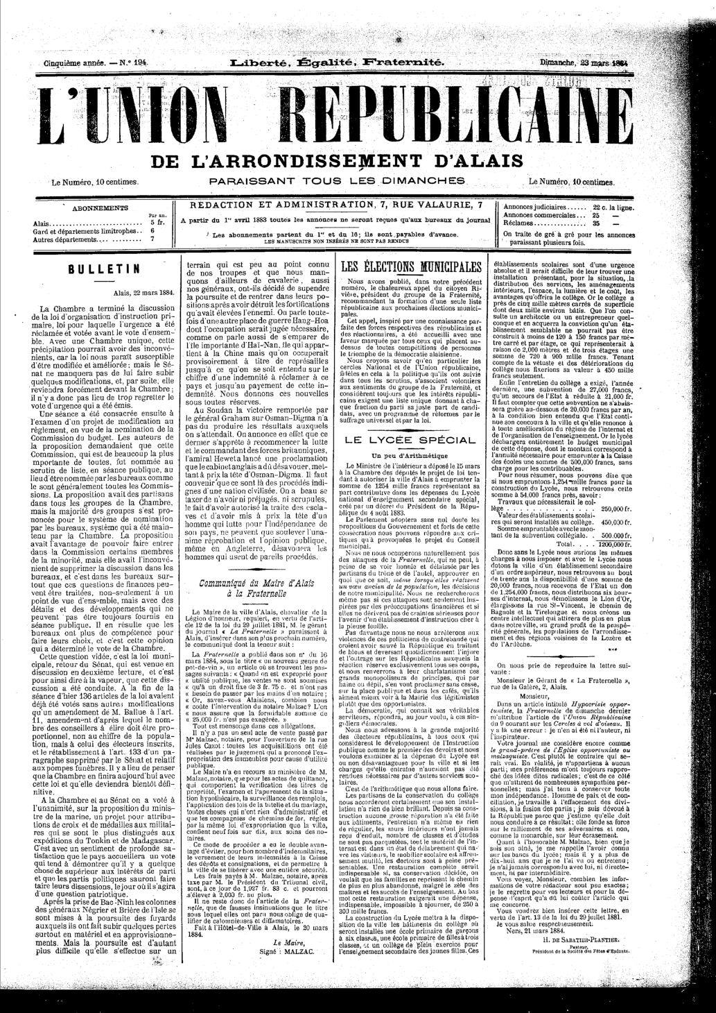 Calaméo - Union Républicaine D'alais 23/03/1884 pour Les Numéros Des Départements