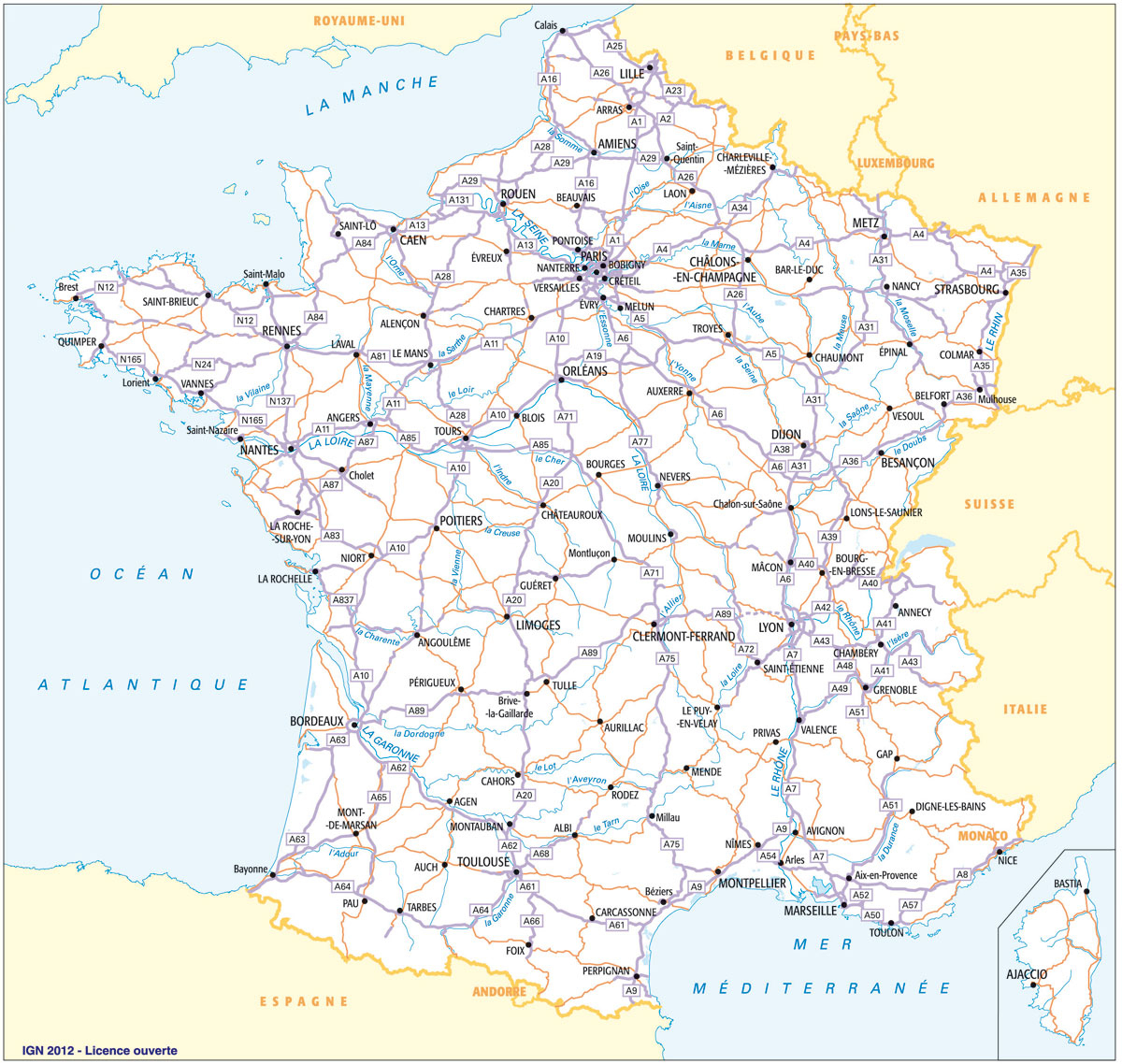 Calcul D'itineraire Routier - Carte Routière De France intérieur Carte De France Détaillée Avec Les Villes