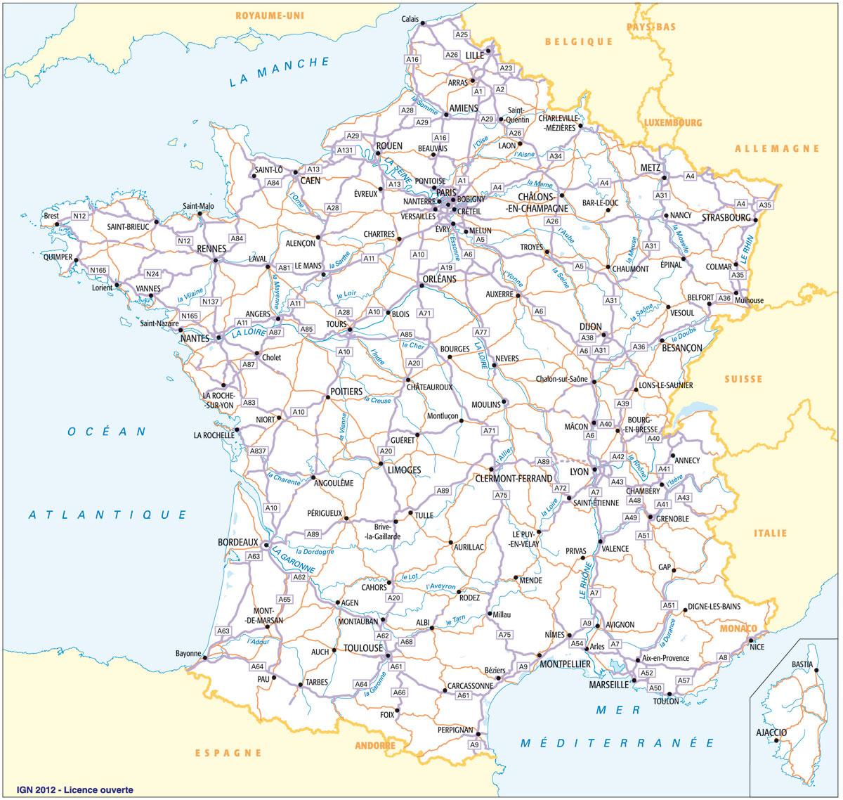Calcul D'itineraire Routier - Carte Routière De France pour Carte Du Sud Est De La France Détaillée
