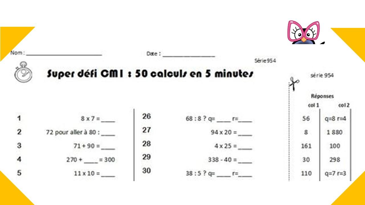 Calcul Mental Cm1 Et Cm2 : Programmation Et Générateur avec Exercice Gratuit Cm2
