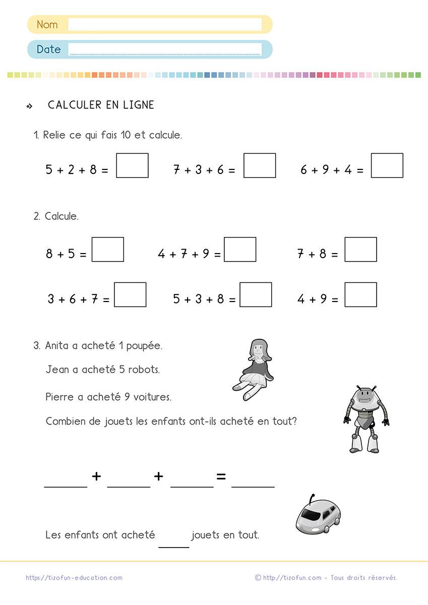 Calculs Maths Cp Ce1   Additions Soustractions Problèmes Cp Ce1 destiné Exercice Problème Ce1