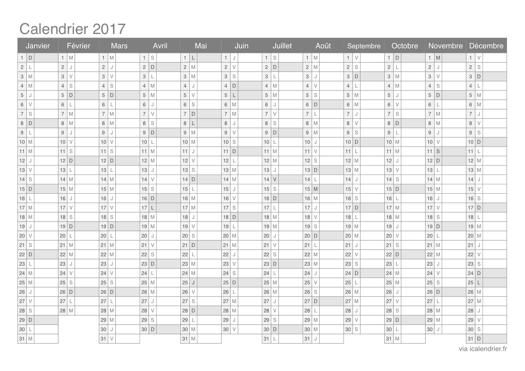 Calendrier 2017 À Imprimer Pdf Et Excel - Icalendrier concernant Imprimer Un Calendrier 2017