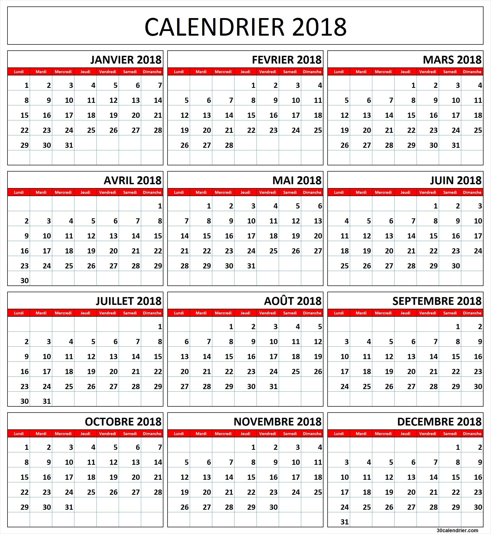 Calendrier 2018 À Imprimer Gratuites | Calendrier 2018 tout Calendrier 2018 À Télécharger Gratuit