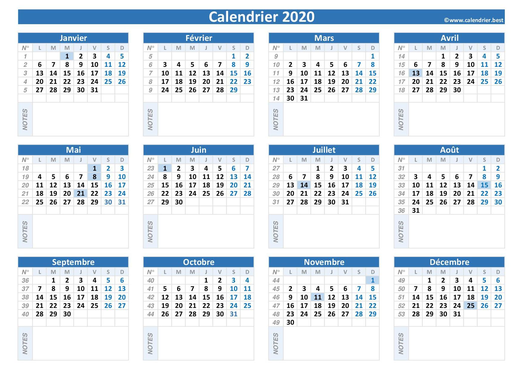 Calendrier 2020 Vierge À Imprimer -Calendrier.best intérieur Imprimer Des Calendriers