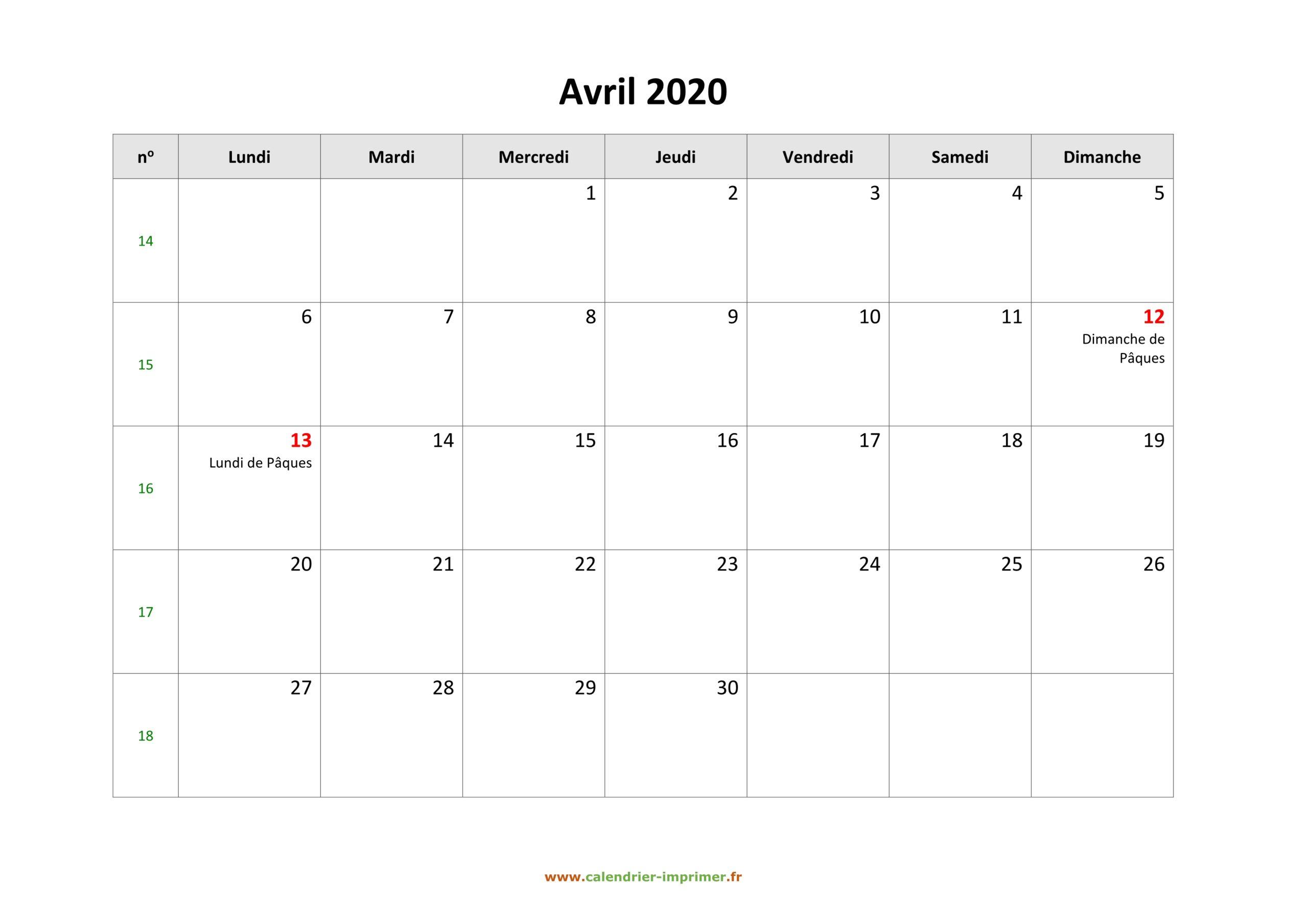 Calendrier Avril 2020 À Imprimer Vacances – Zudocalendrio intérieur Imprimer Des Calendriers