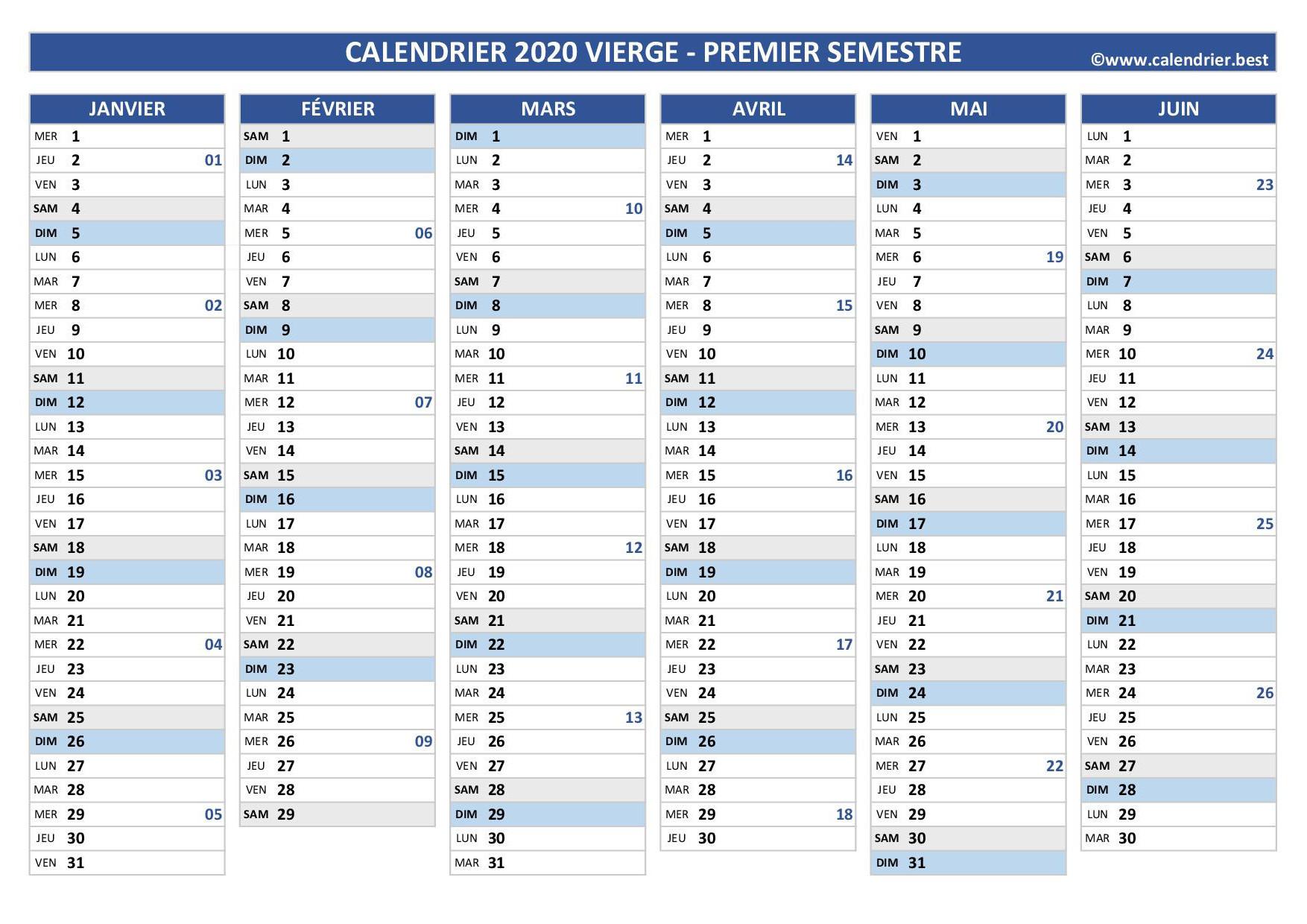 Calendrier.best : Calendriers 2020 À Imprimer Gratuitement intérieur Imprimer Des Calendriers
