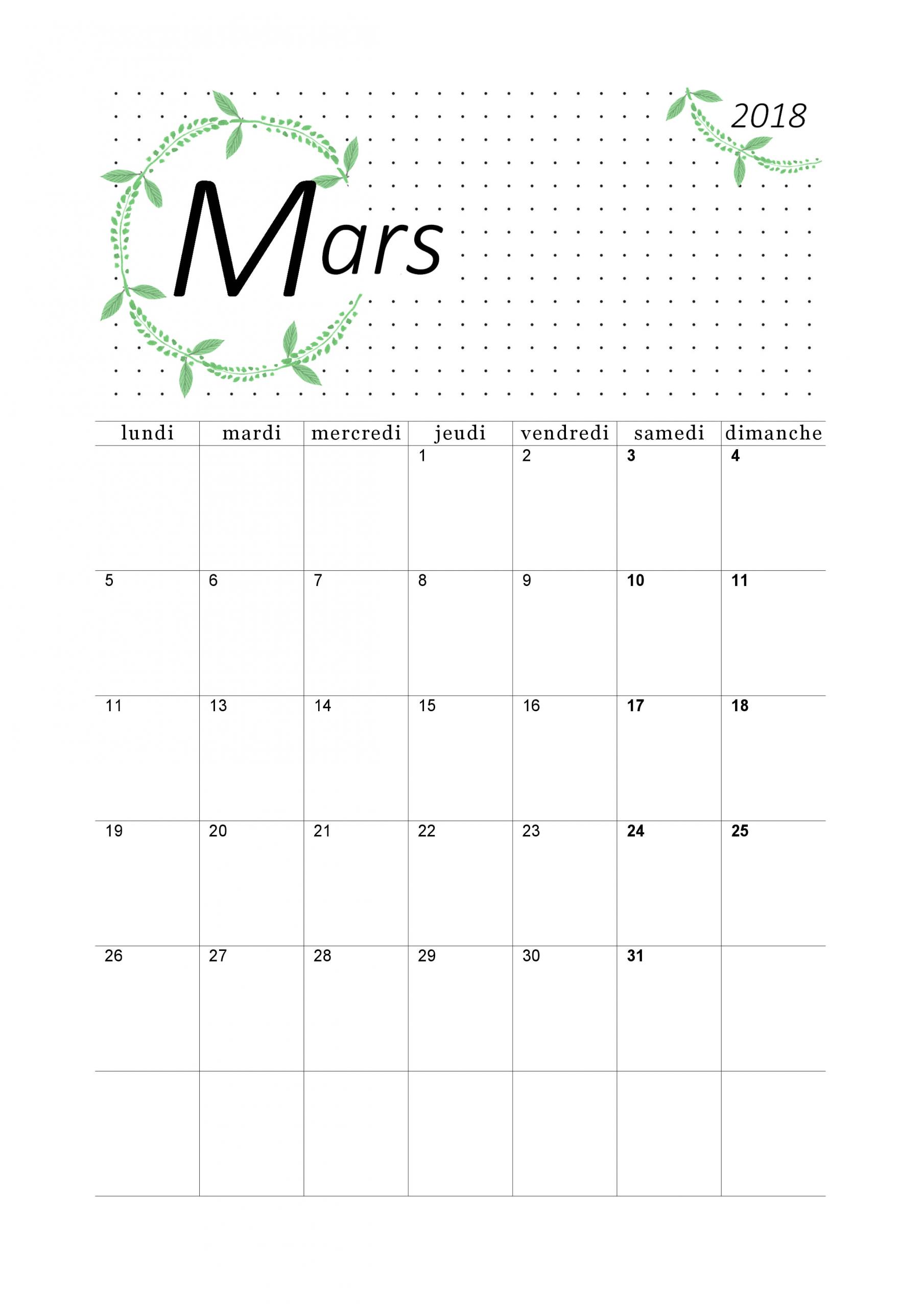 Calendrier De Mars 2018 - Portrait | Loisirs Créatifs encequiconcerne Calendrier Mars 2018 À Imprimer