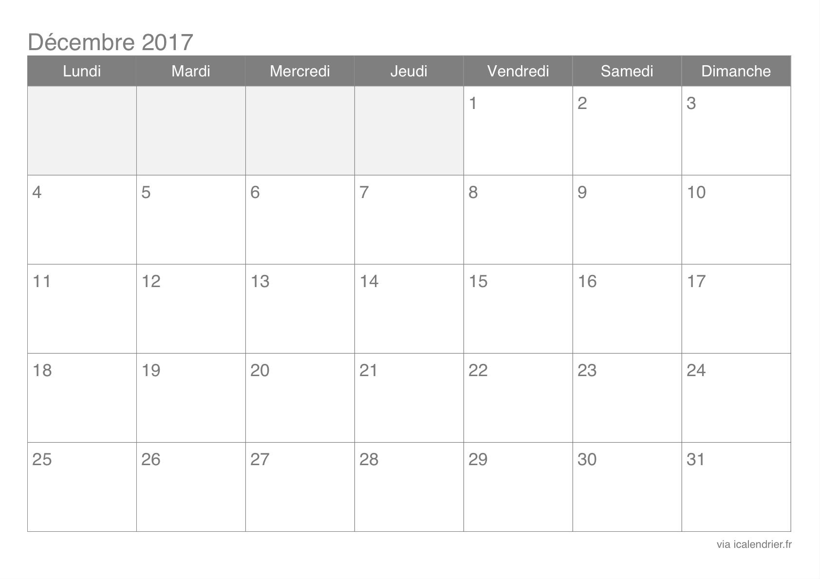 Calendrier Décembre 2017 À Imprimer - Icalendrier destiné Imprimer Un Calendrier 2017