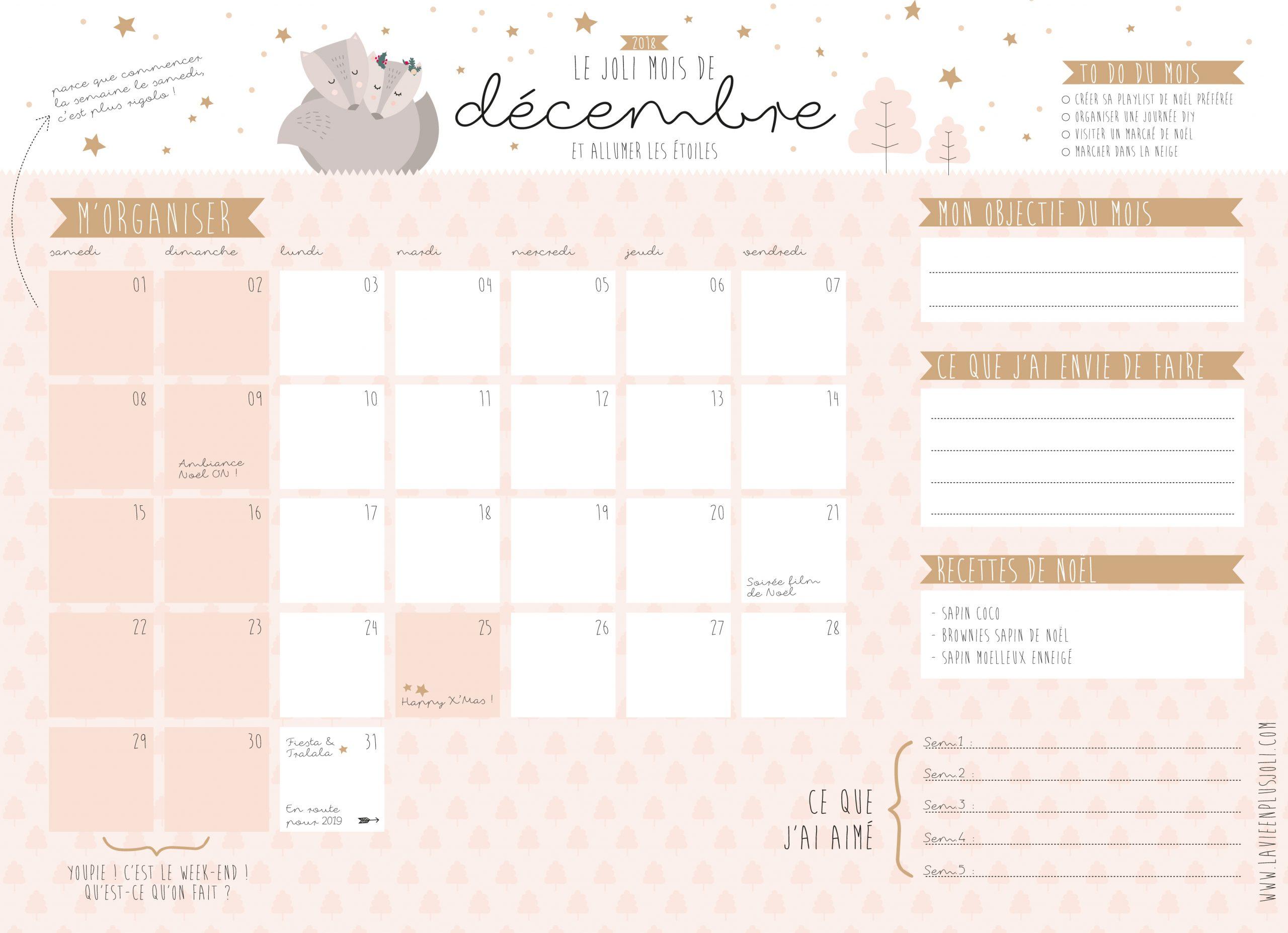Calendrier Du Mois De Décembre 2018 À Imprimer – La Vie En à Calendrier A Imprimer 2018