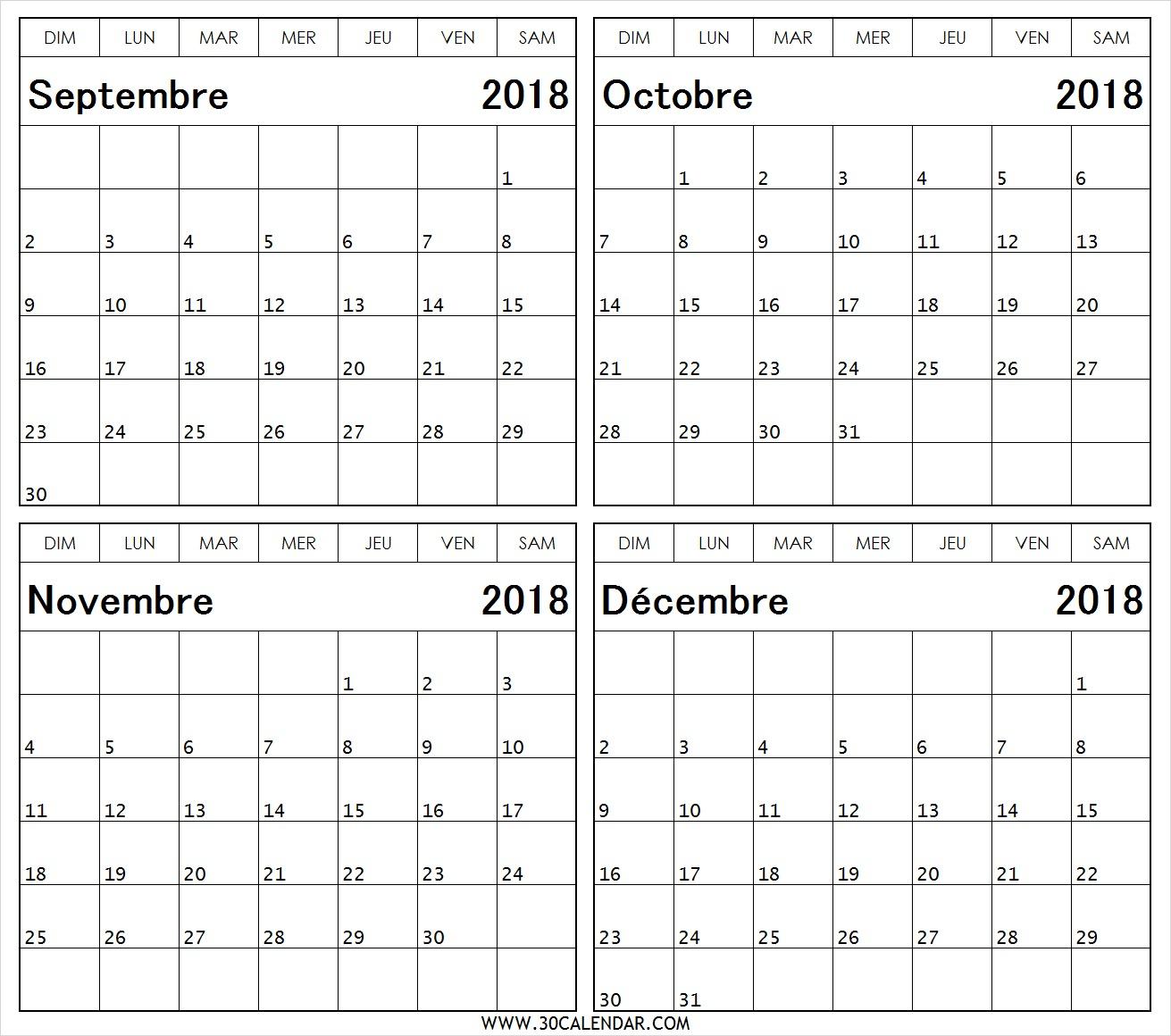 Calendrier Du Mois De Septembre October Novembre Décembre 2018 concernant Calendrier 2018 A Imprimer Par Mois
