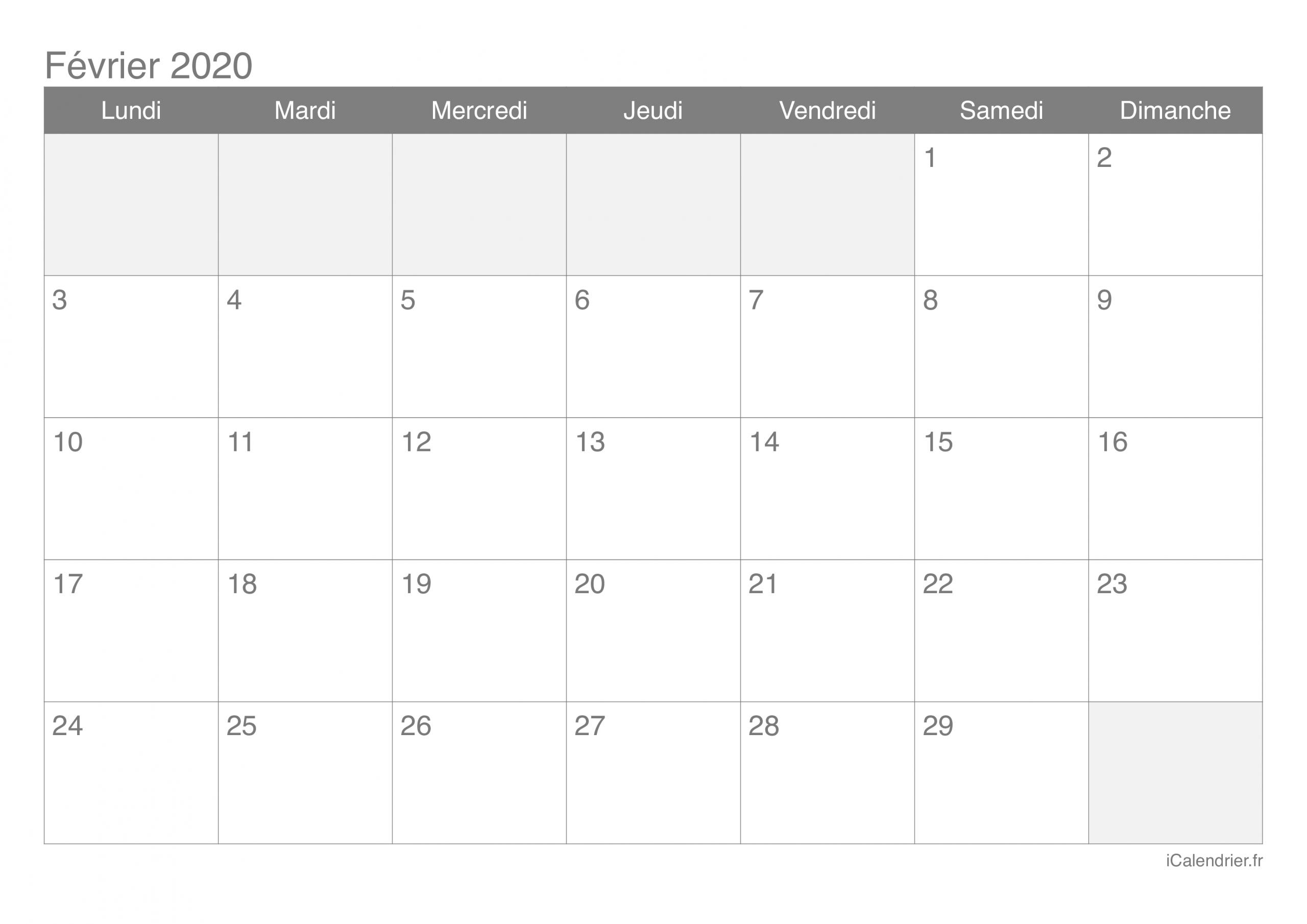 Calendrier Février 2020 À Imprimer - Icalendrier intérieur Imprimer Des Calendriers