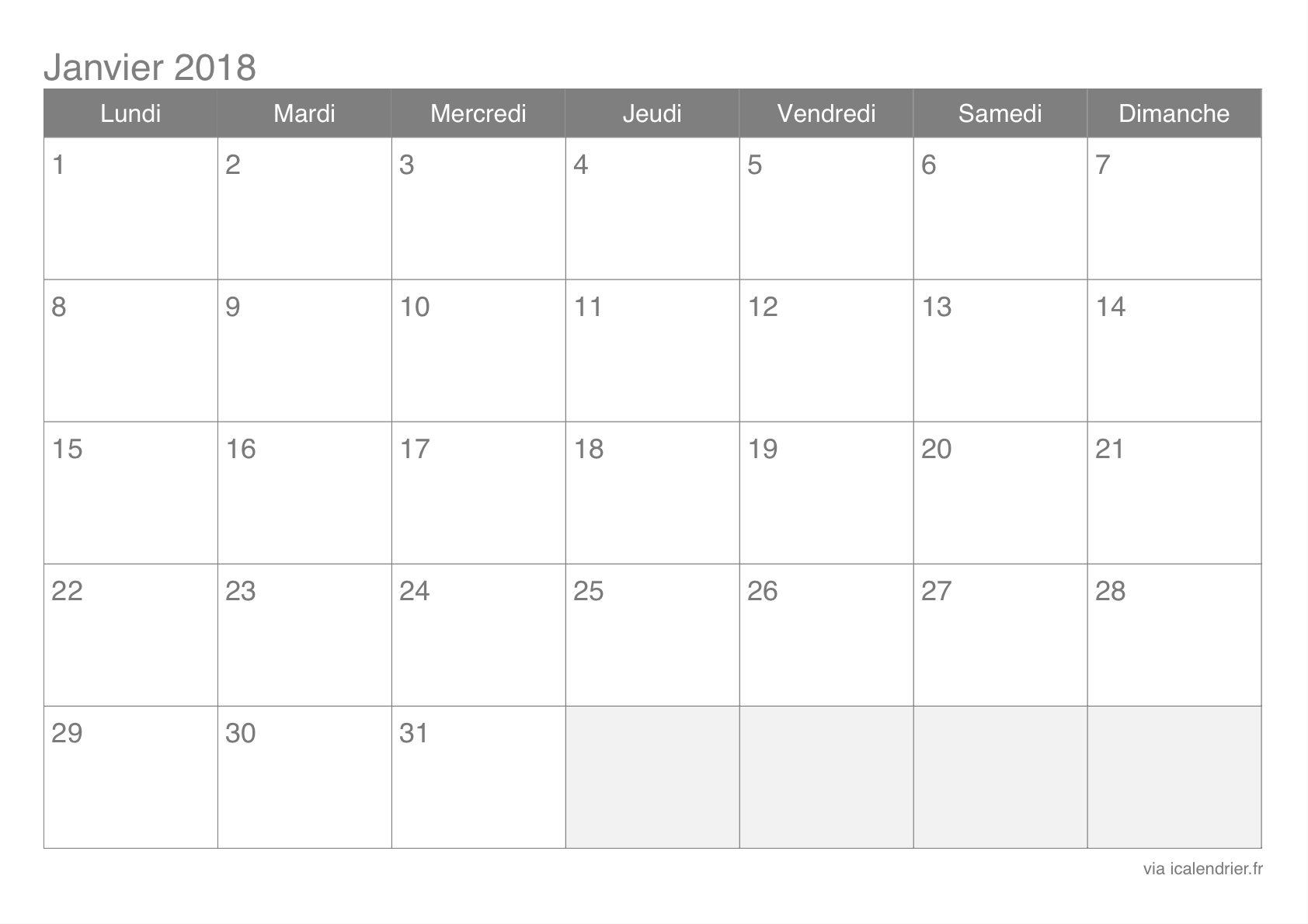 Calendrier Janvier 2018 À Imprimer - Icalendrier tout Calendrier A Imprimer 2018