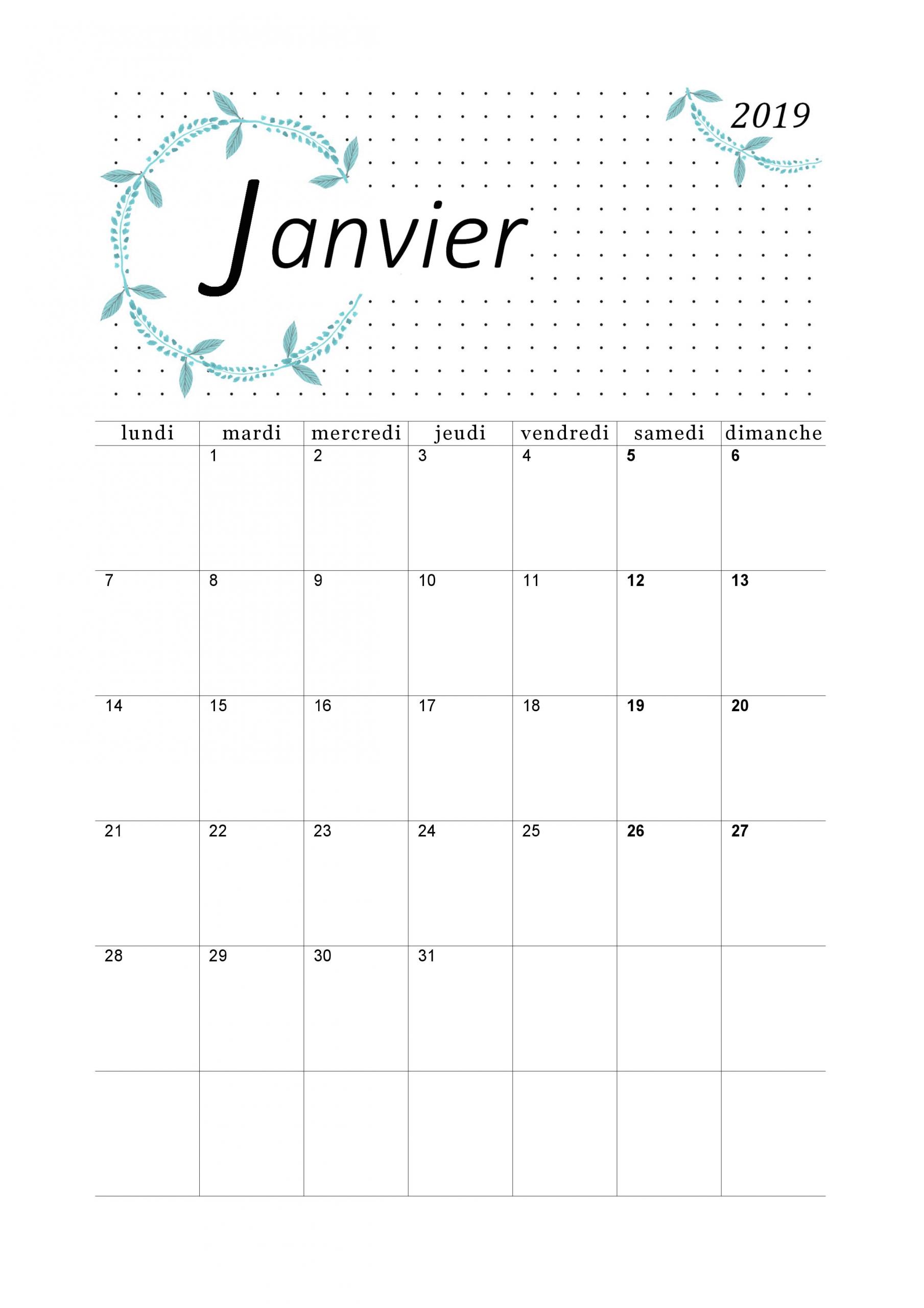 Calendrier Janvier 2019 À Imprimer - Calendriers Imprimables tout Imprimer Des Calendriers