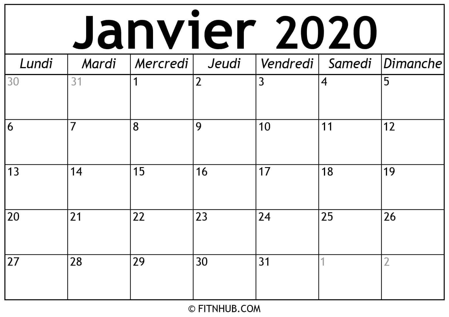 Calendrier Janvier 2020 À Imprimer - Calendrier 2020 À Imprimer intérieur Imprimer Des Calendriers