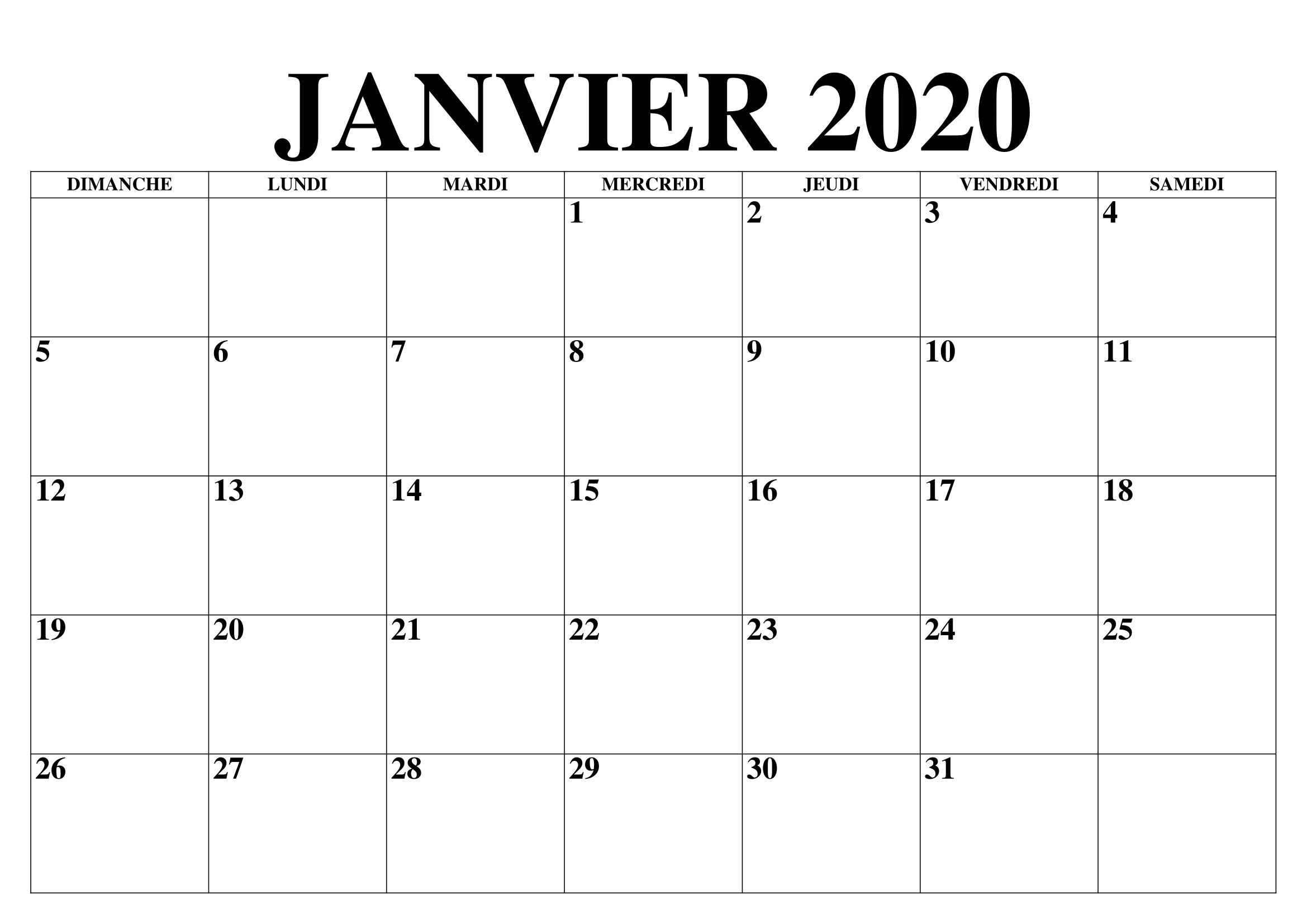 Calendrier Janvier 2020 Vacances À Imprimer | Calendrier 2020 concernant Imprimer Des Calendriers