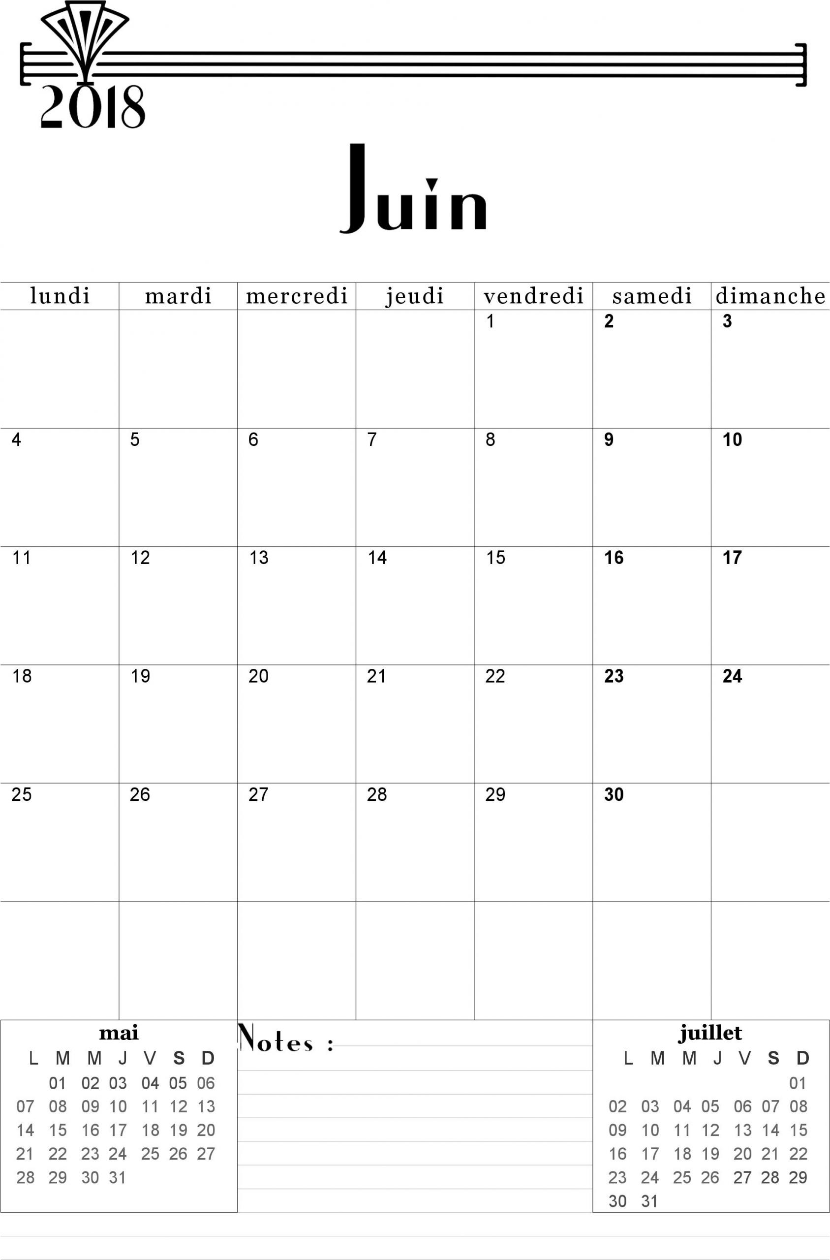 Calendrier Juin 2018 À Imprimer. (Avec Images) | Calendrier tout Imprimer Un Calendrier 2017