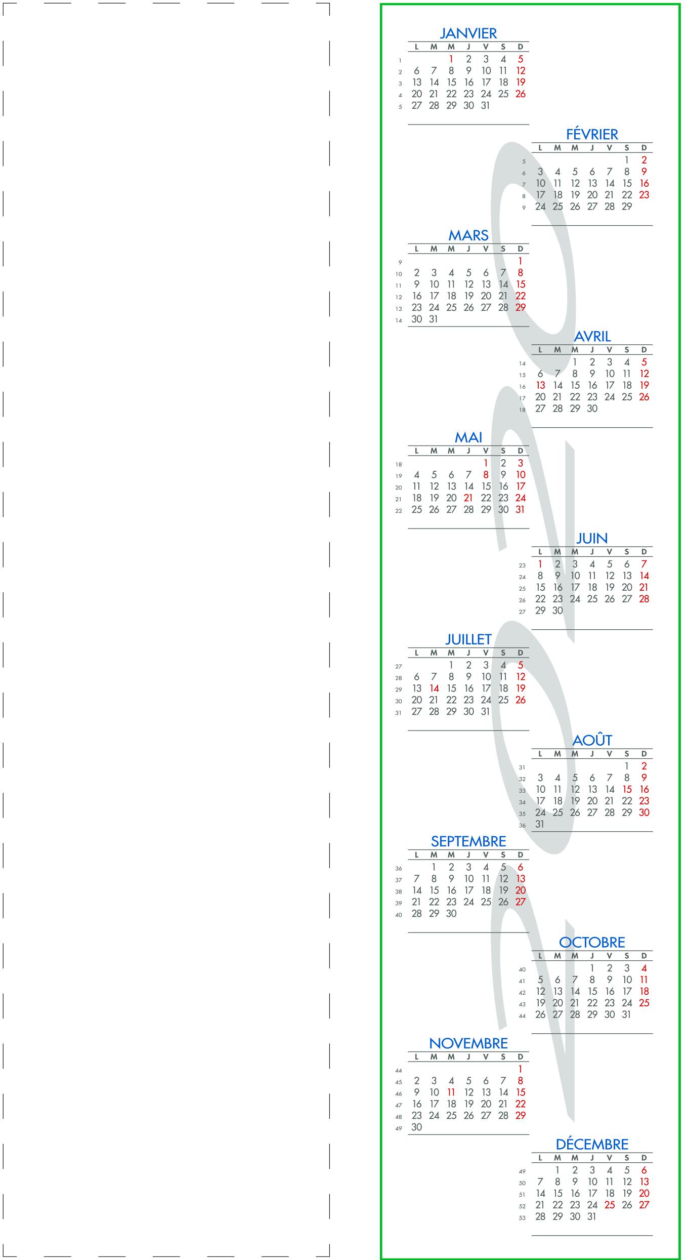 Calendrier Marque-Page Personnalisé | T'imprim pour Marque Page À Imprimer