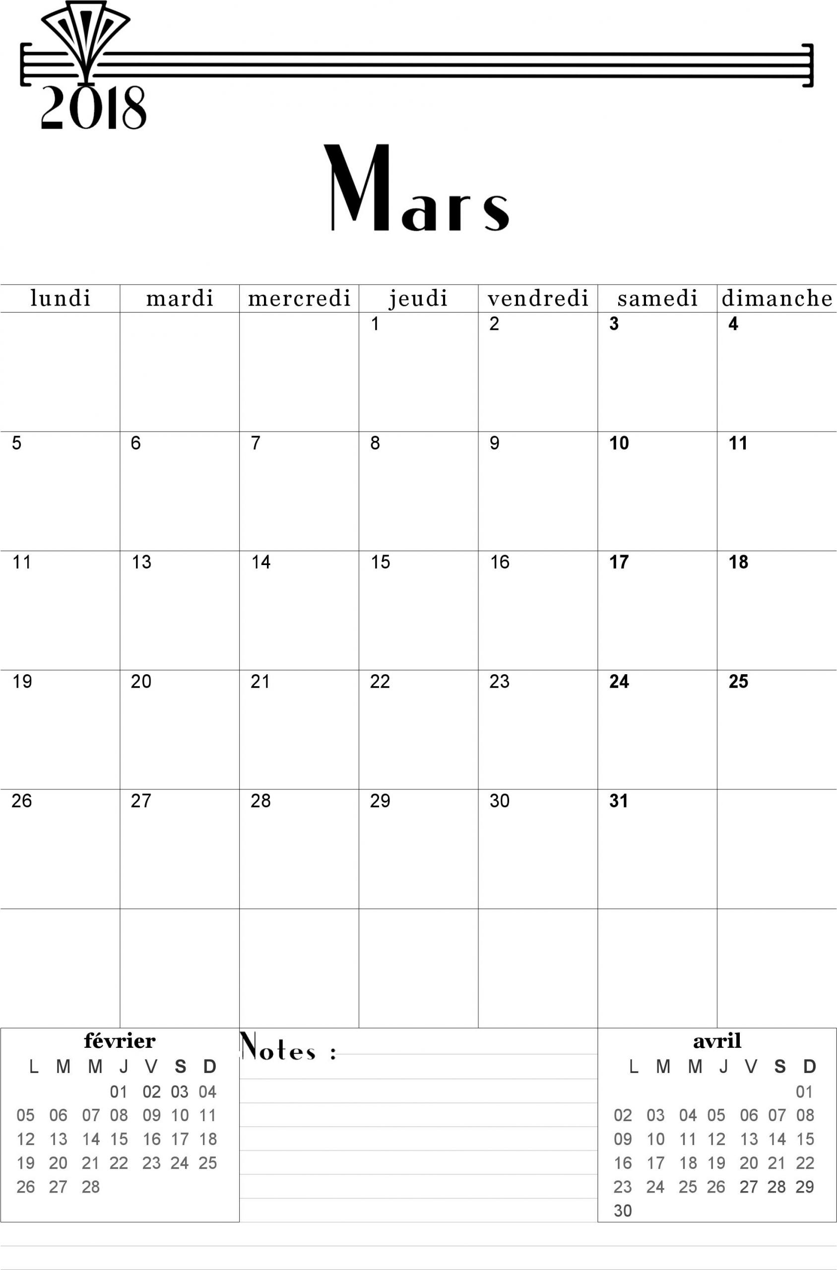 Calendrier Mars 2018 À Imprimer. | Calendrier, Calendrier serapportantà Calendrier Mars 2018 À Imprimer