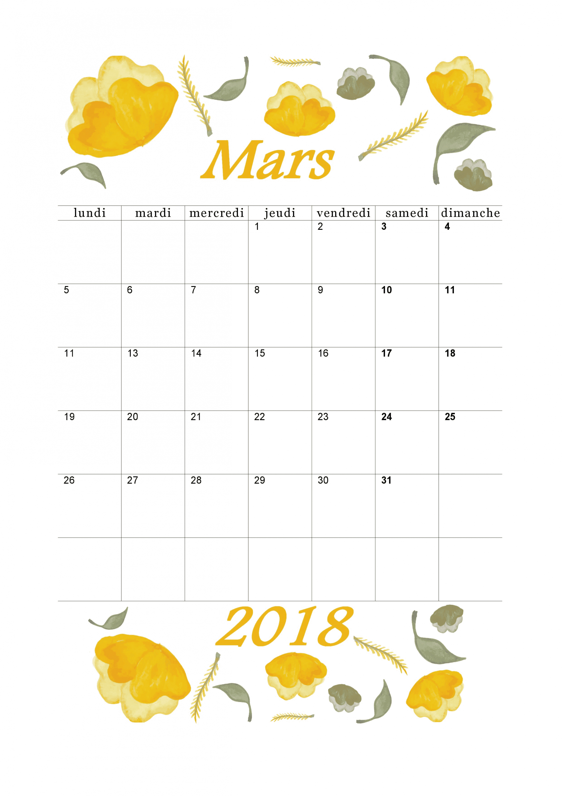 Calendrier Mars 2018 À Imprimer - Calendriers Imprimables intérieur Calendrier Mars 2018 À Imprimer