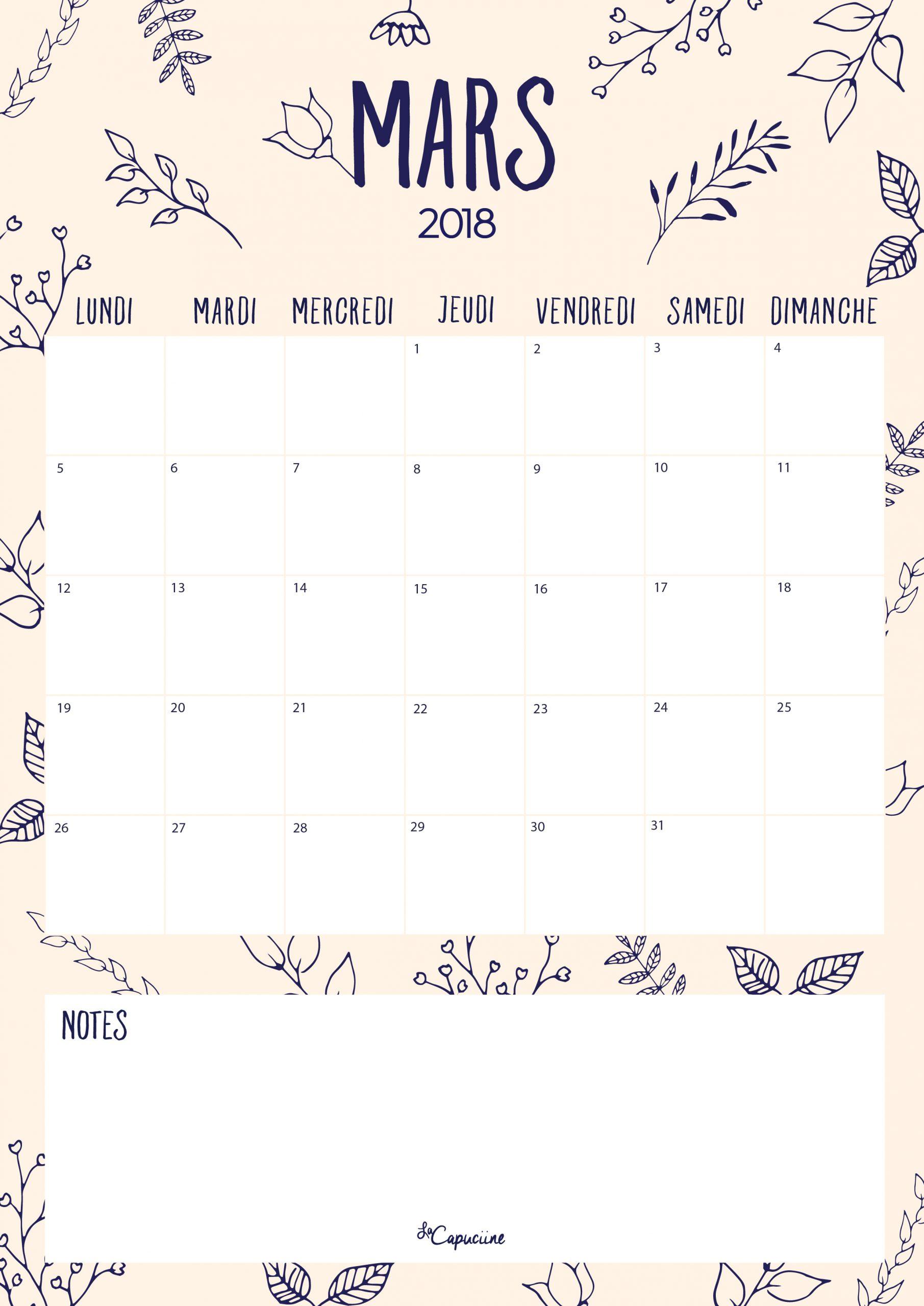 Calendrier – Mars 2018 | La Capuciine tout Calendrier Mars 2018 À Imprimer