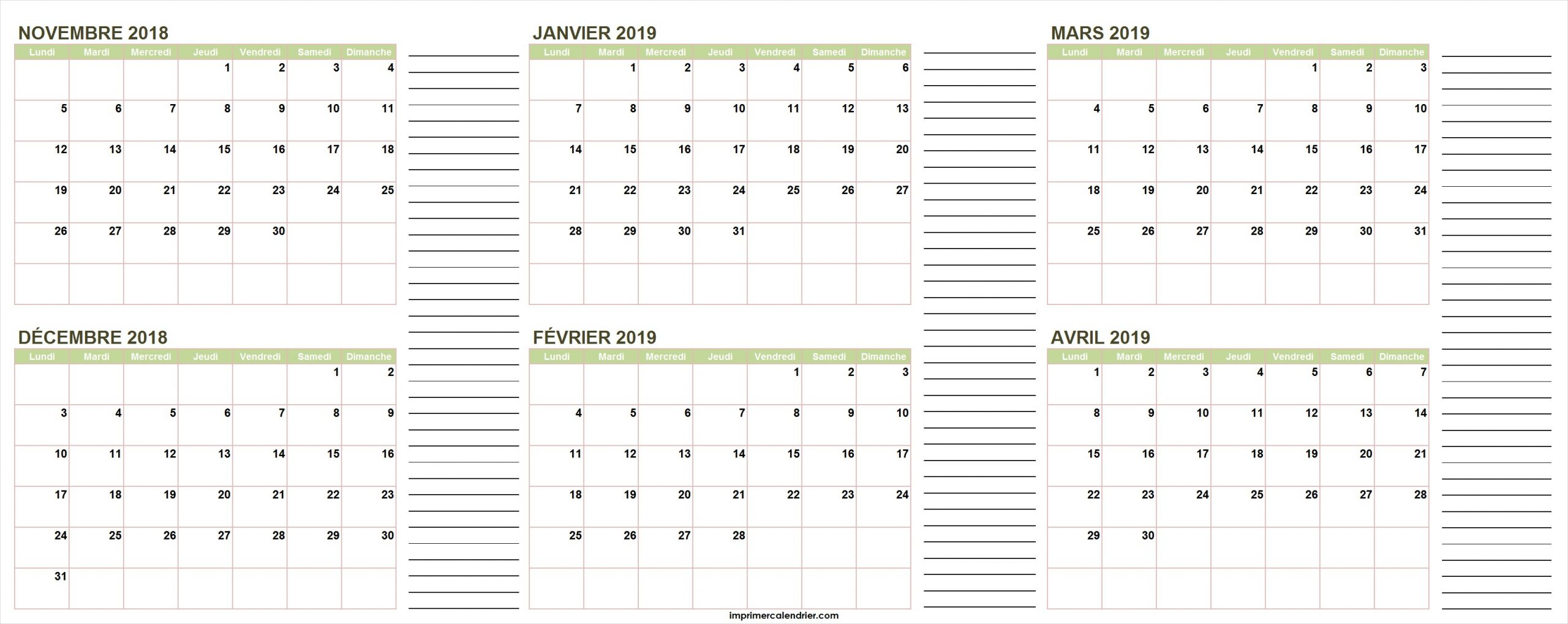 Calendrier Novembre 2018 À Avril 2019 | Calendrier Pour Imprimer dedans Calendrier 2018 À Télécharger Gratuit