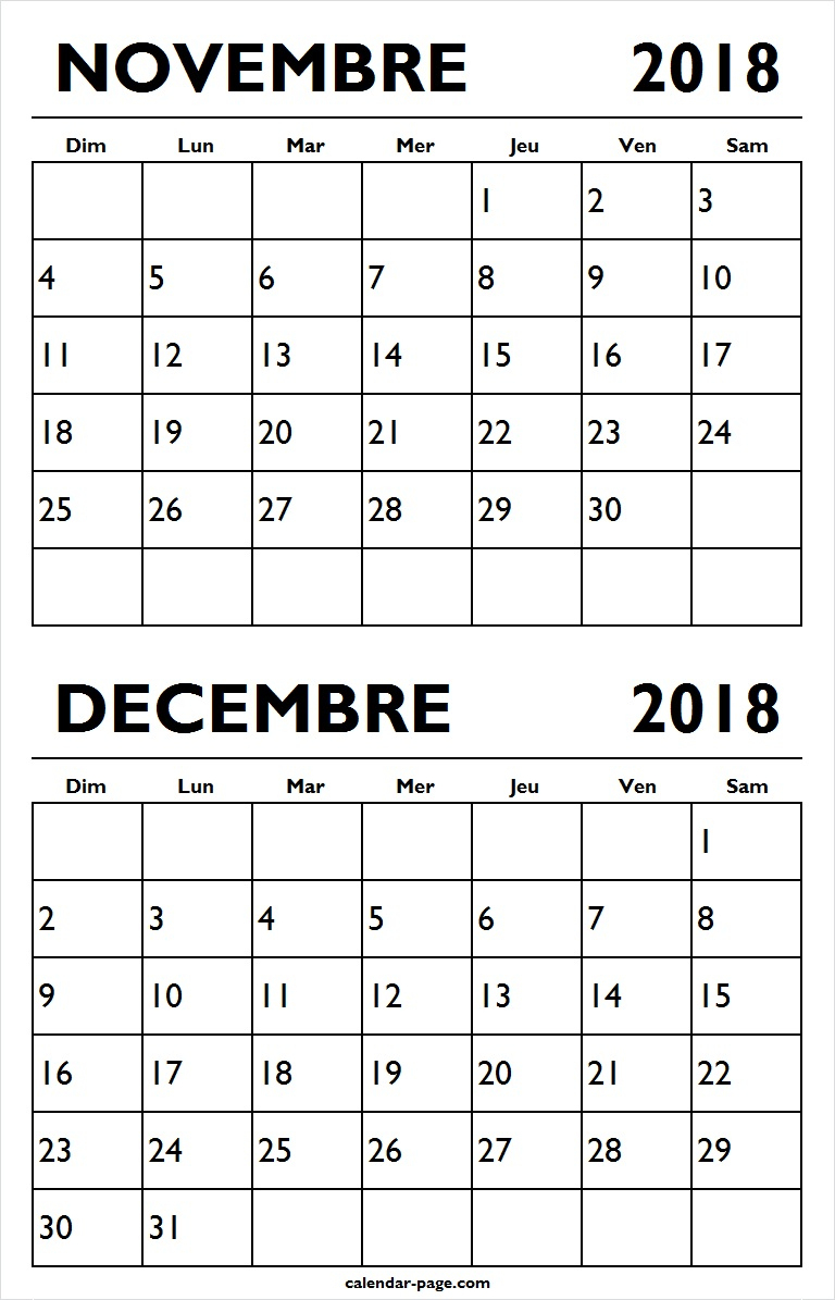 Calendrier Novembre Decembre 2018 A Imprimer | Mensuel encequiconcerne Calendrier A Imprimer 2018