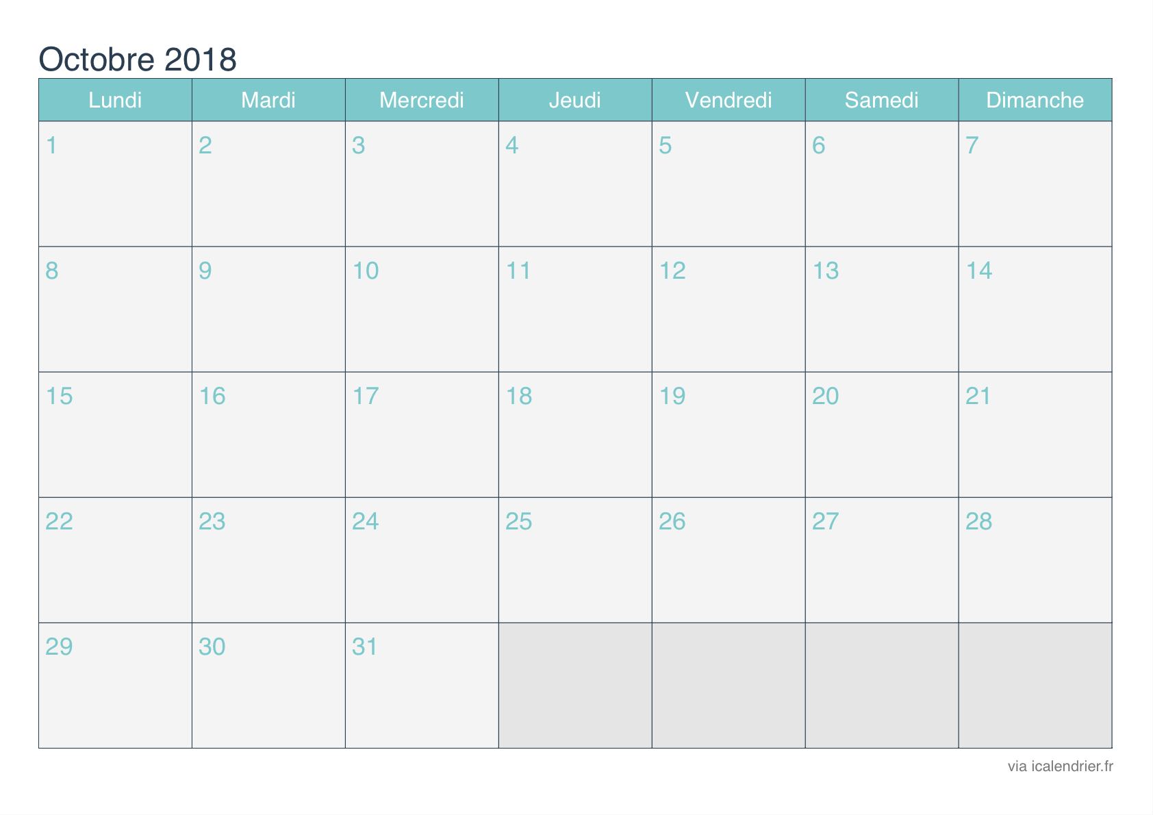 Calendrier Octobre 2018 À Imprimer - Icalendrier concernant Calendrier 2018 A Imprimer Par Mois