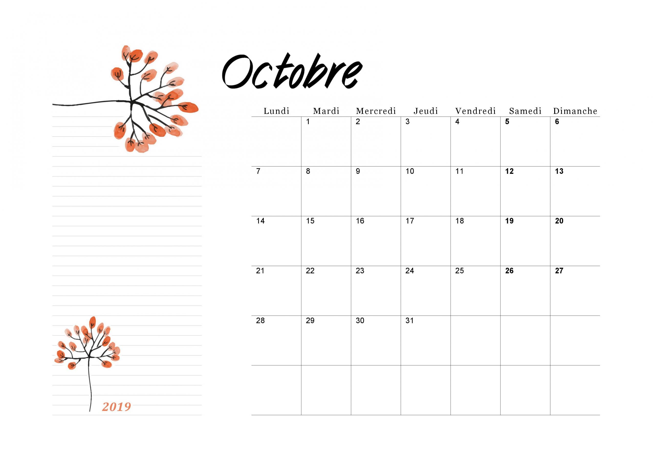 Calendrier Octobre 2019 À Imprimer - Calendriers Imprimables à Imprimer Des Calendriers