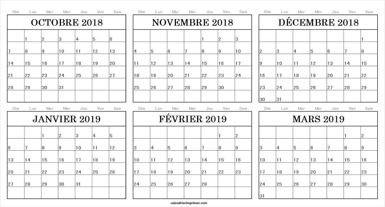 Calendrier Octobre Novembre Décembre 2018 Janvier Février concernant Calendrier Mars 2018 À Imprimer