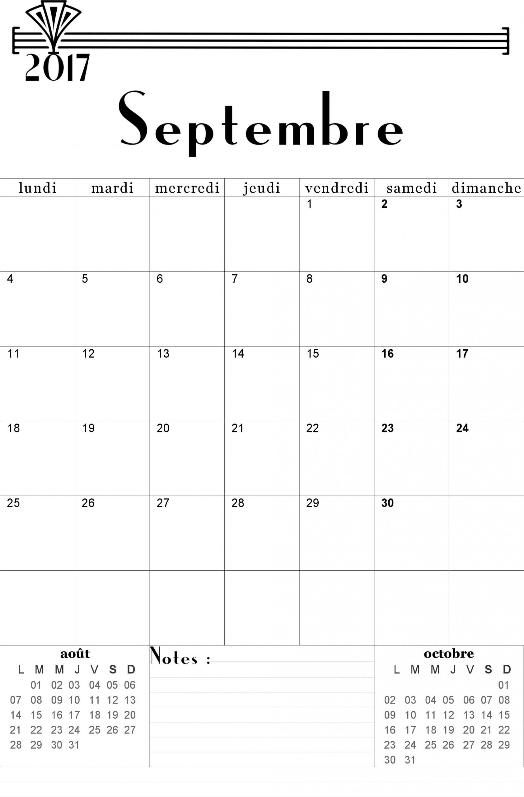 Calendrier Septembre 2017 À Imprimer - Calendriers avec Calendrier 2018 A Imprimer Par Mois
