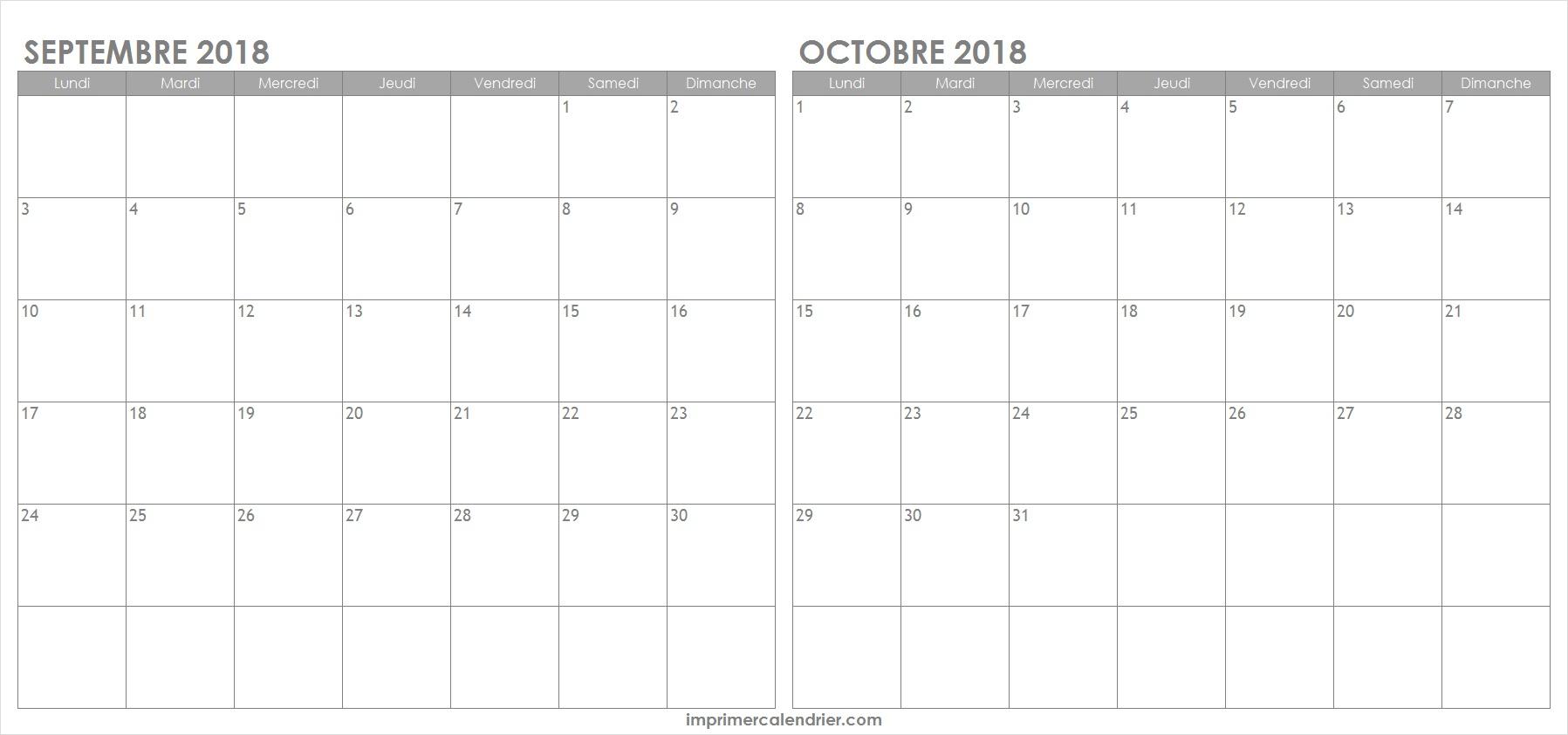 Calendrier Septembre Octobre 2018 Gratuit À Imprimer encequiconcerne Calendrier 2018 A Imprimer Par Mois