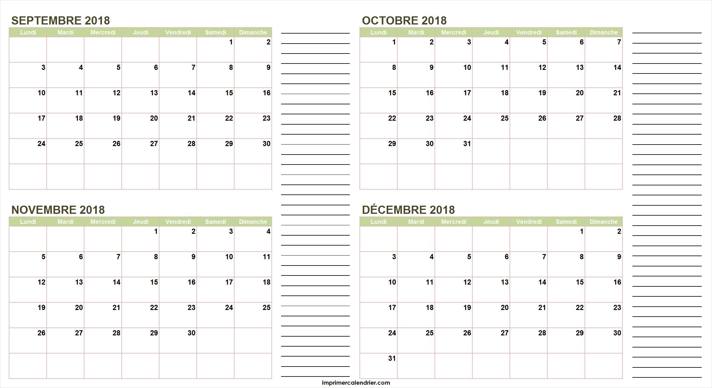 Calendrier Septembre Octobre Novembre Décembre 2018 encequiconcerne Agenda 2018 À Imprimer Gratuit