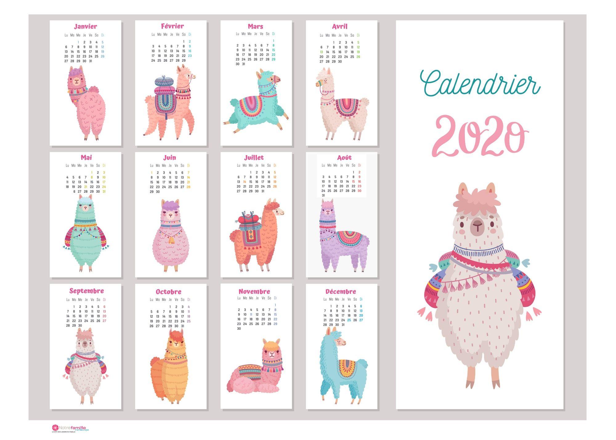 Calendriers 2020 À Imprimer Pour Les Enfants avec Imprimer Des Calendriers
