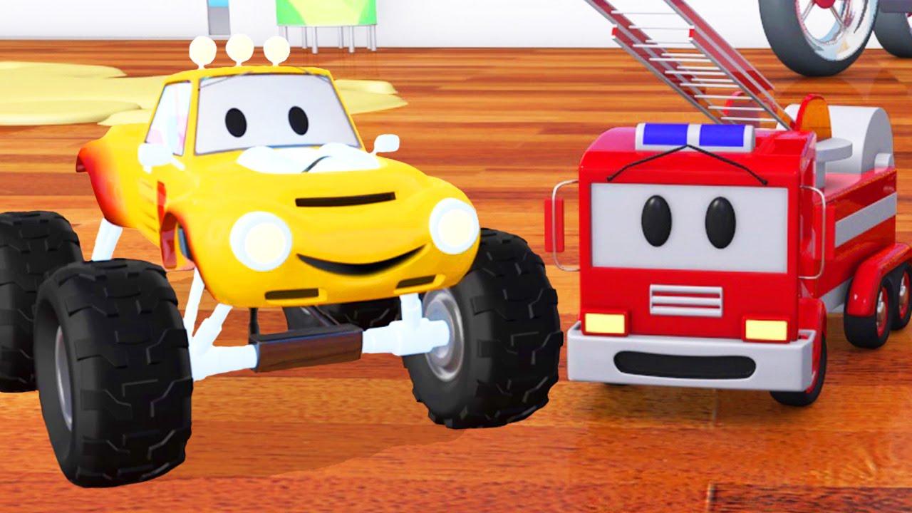 Camion Pompier, Bulldozer, Voiture De Course & Lucas Le Petit Camion |  Dessin Animé Pour Les Enfants concernant Course De Voiture Pour Enfant