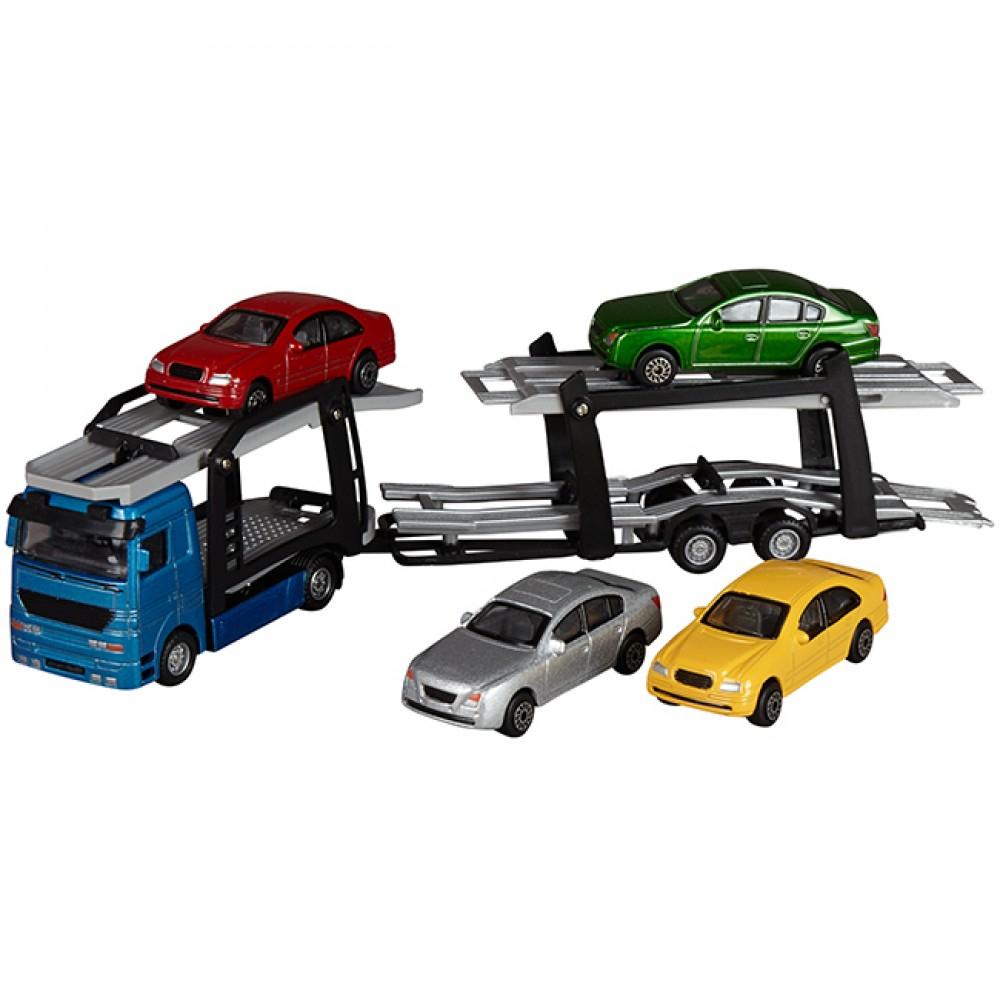 Camion Transporteur Et 4 Voitures pour Jeux De 4 4 Voiture