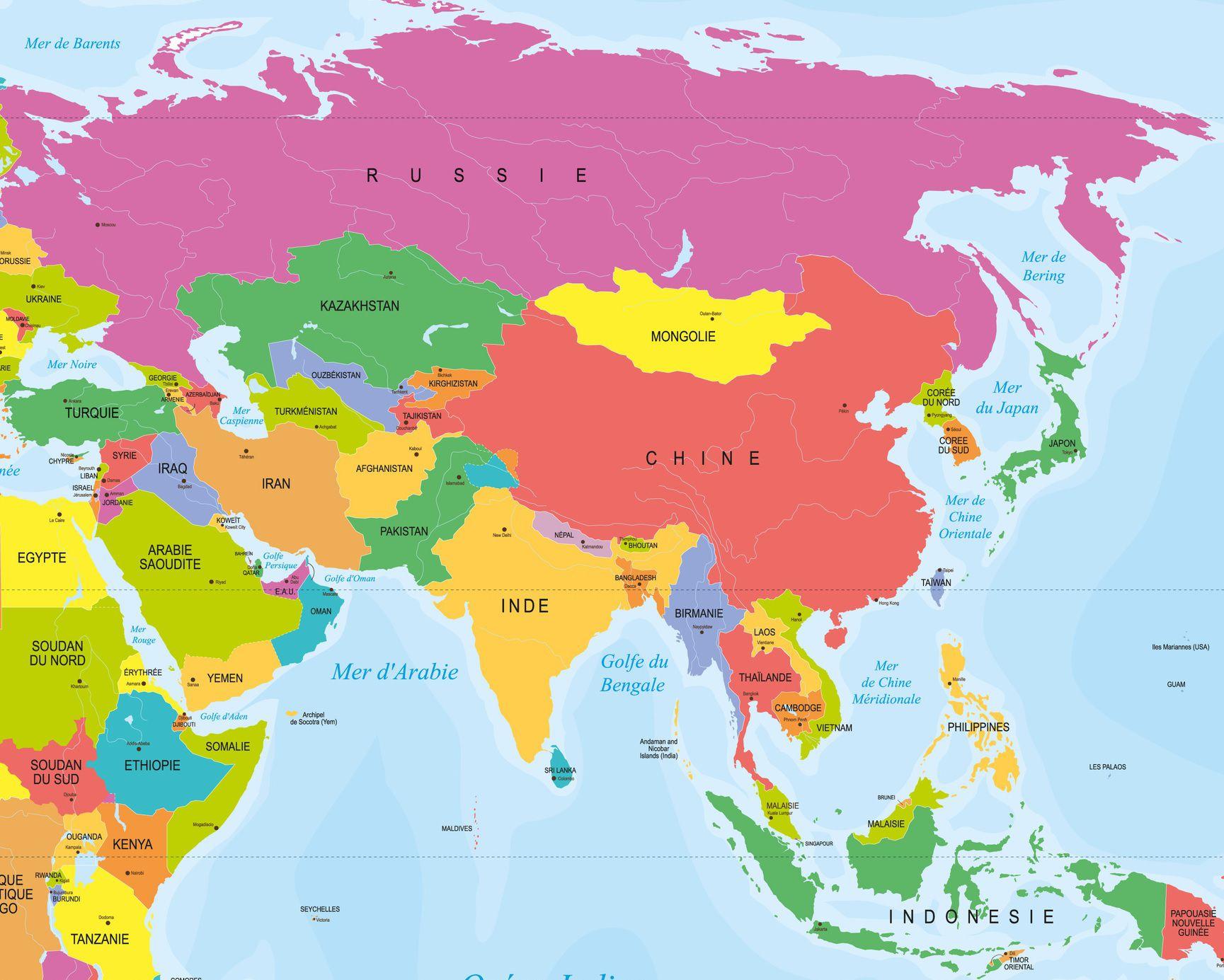 Capitales En Asie Par Pays Avec Une Carte Pour Leurs pour Carte Du Monde Avec Capitales Et Pays
